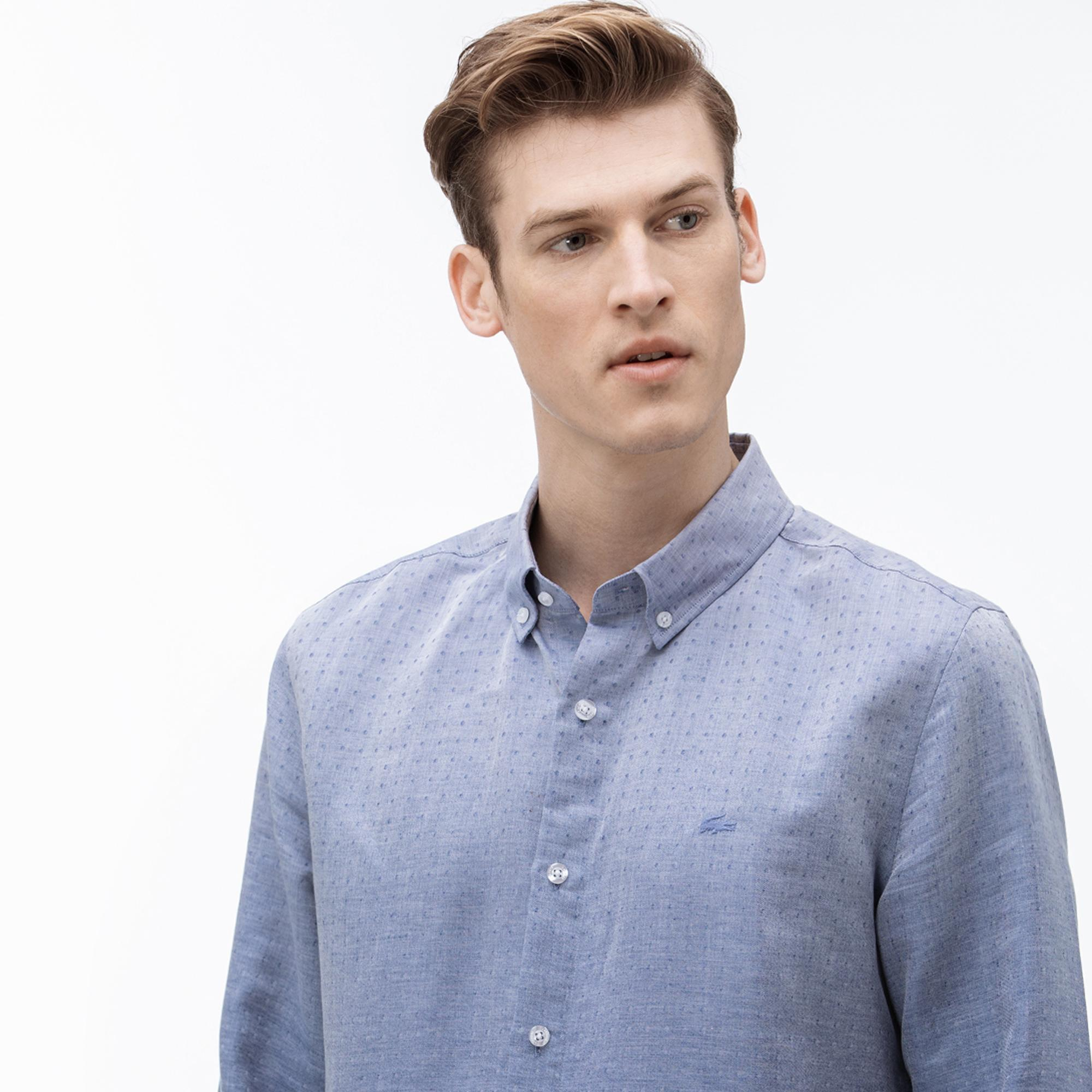 Lacoste Erkek Slim Fit Düğmeli Yaka Degrade Mavi Gömlek
