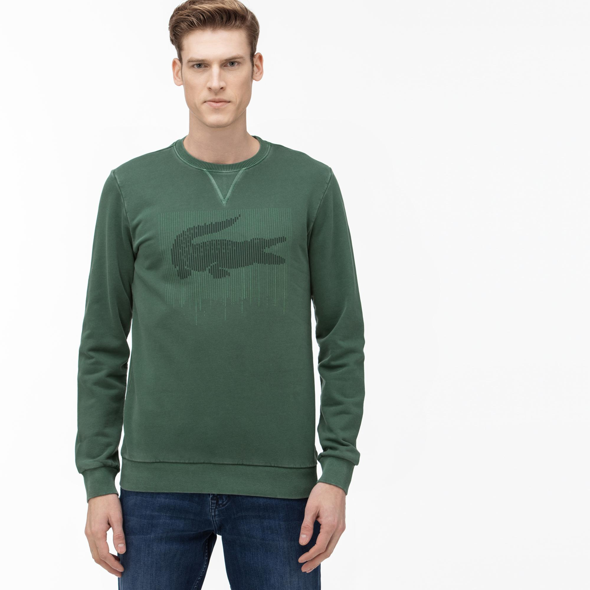 Lacoste Erkek Bisiklet Yaka Baskılı Yeşil Sweatshirt