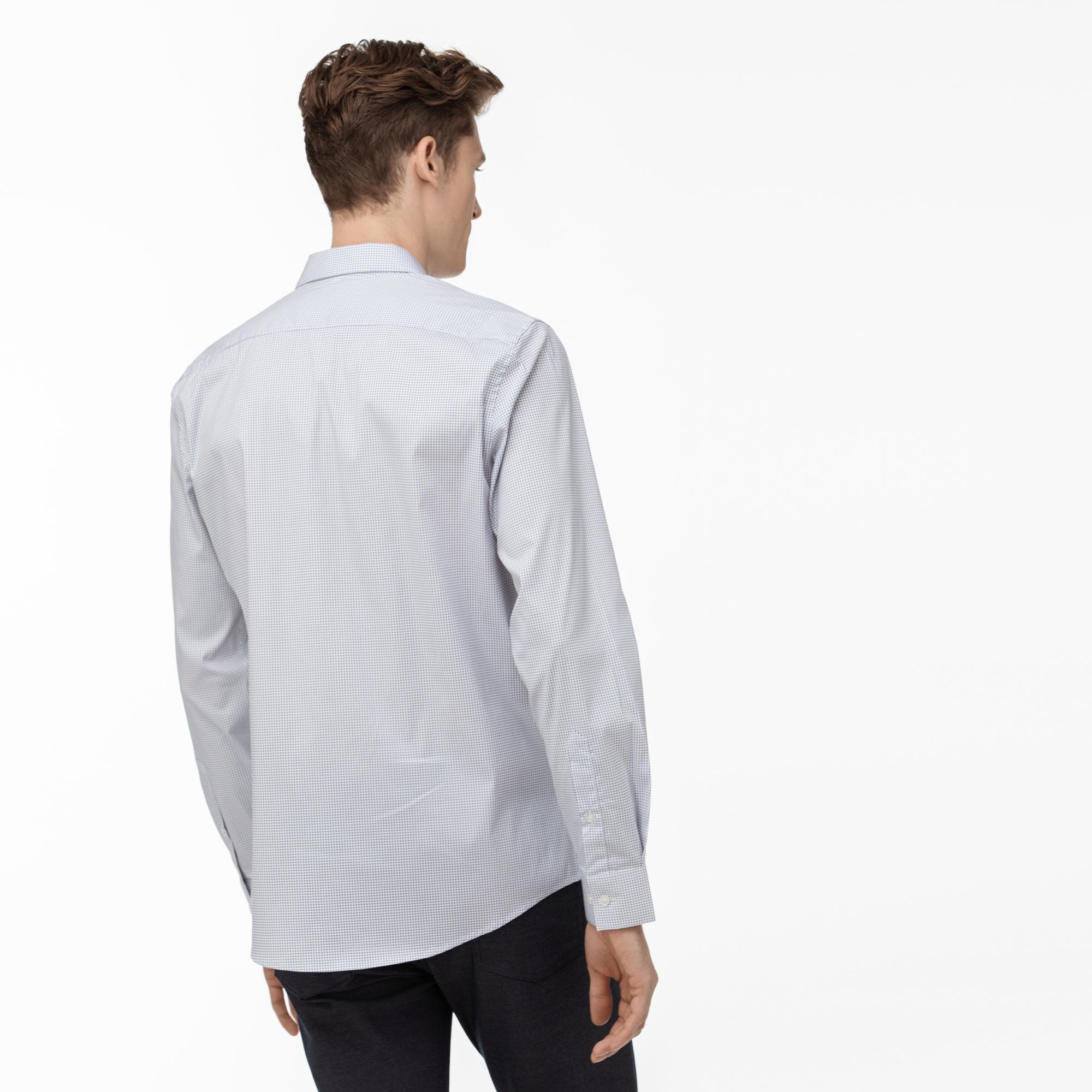 Lacoste Erkek Slim Fit Düğmeli Yaka Beyaz - Lacivert Gömlek