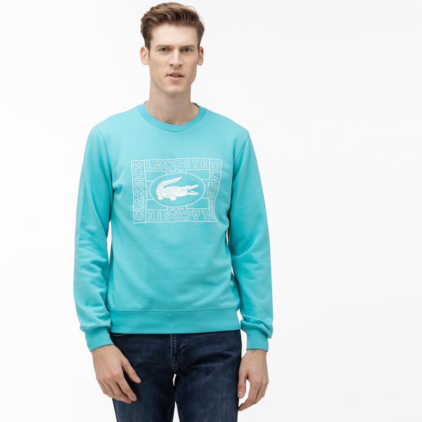 Lacoste Erkek Bisiklet Yaka Baskılı Mavi Sweatshirt