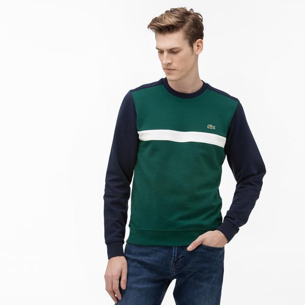Lacoste Erkek Blok Desenli Bisiklet Yaka Lacivert Sweatshirt