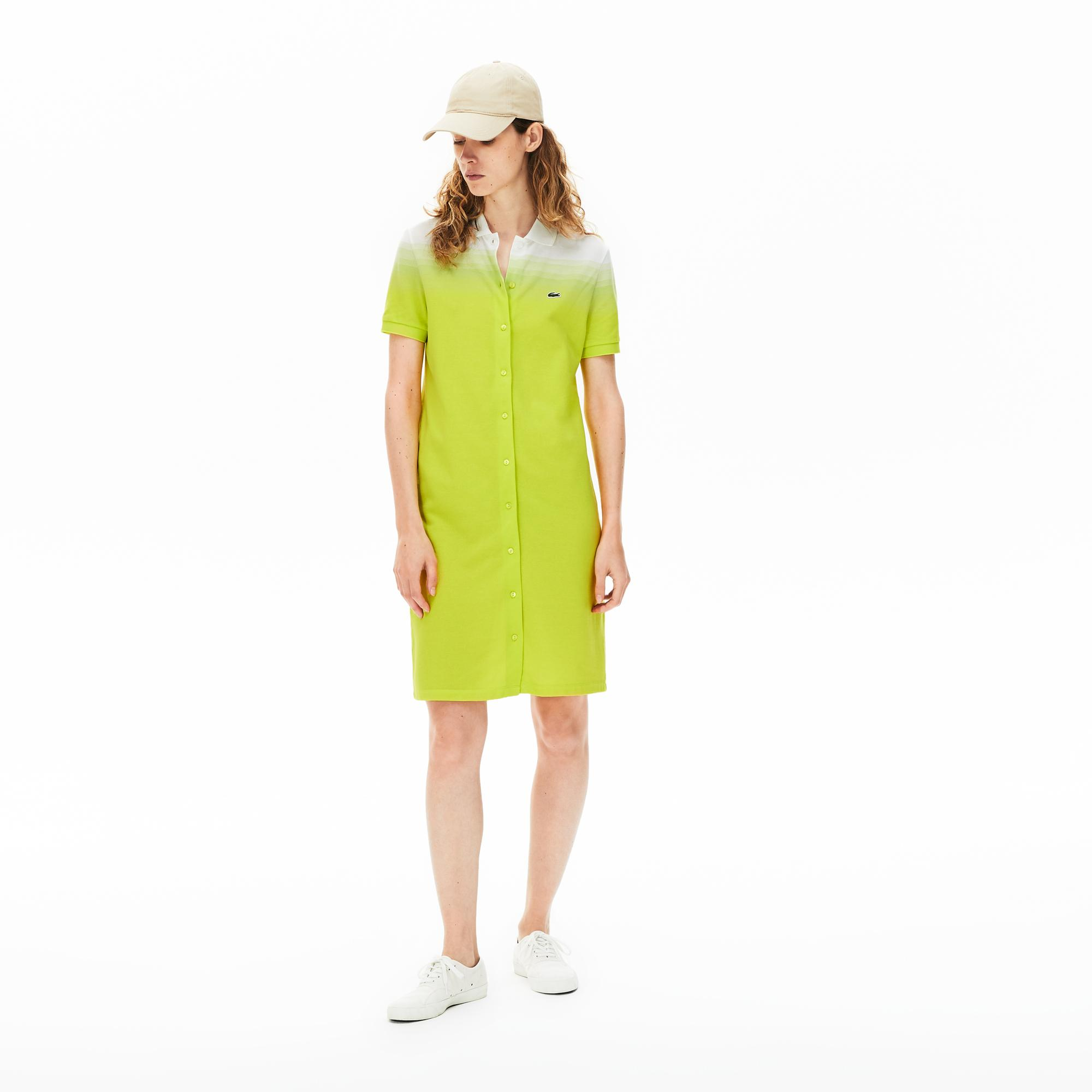 Lacoste Kadın Polo Yaka Degrade Kısa Kollu Sarı - Beyaz Elbise