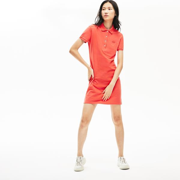Lacoste Kadın Pembe Polo Yaka Elbise