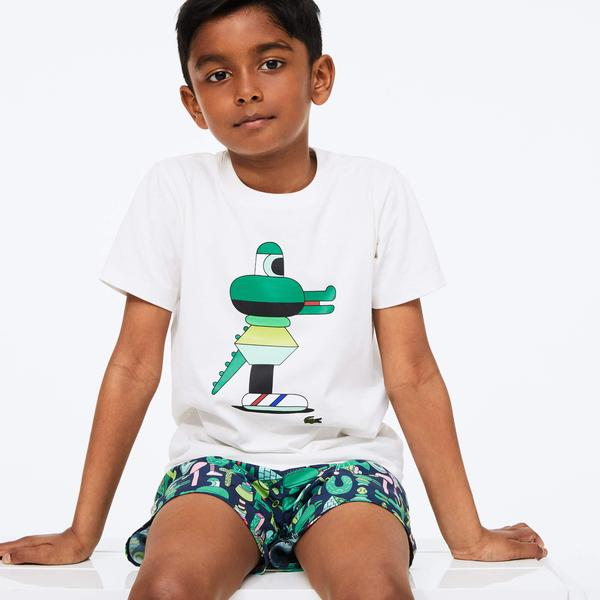 Lacoste X Jeremyville Çocuk Bisiklet Yaka Desenli Beyaz T-Shirt