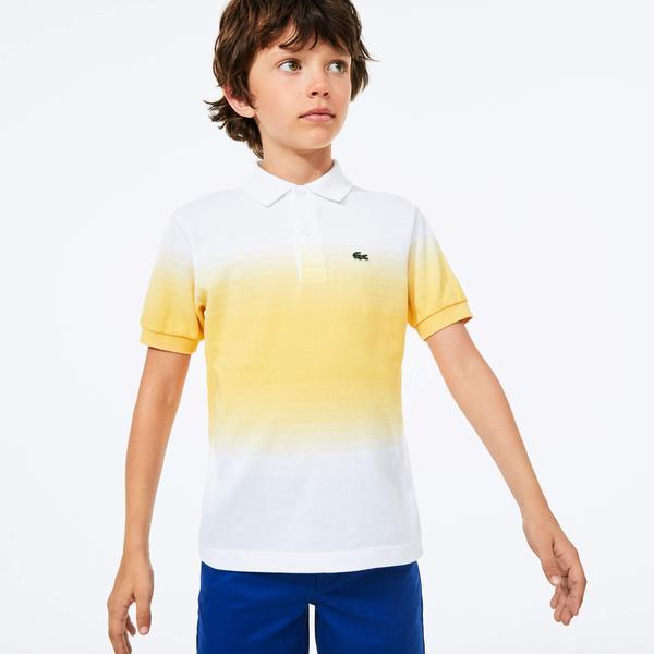 Lacoste Çocuk Blok Desenli Beyaz - Sarı Polo