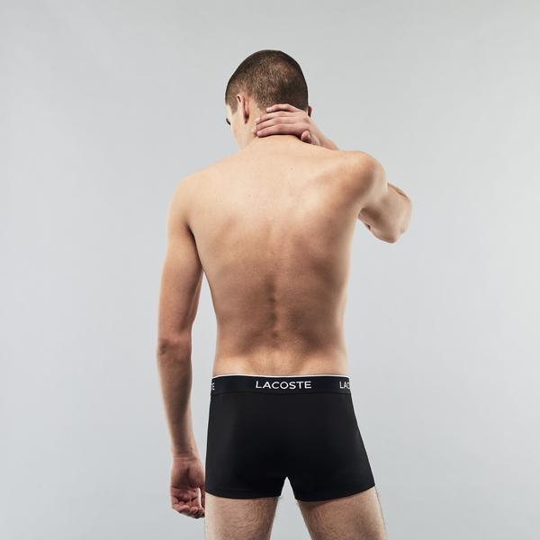 Lacoste Erkek Gri - Beyaz - Siyah 3'lü Boxer