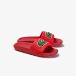 Lacoste Croco Kadın Timsah Baskılı Kırmızı Terlik