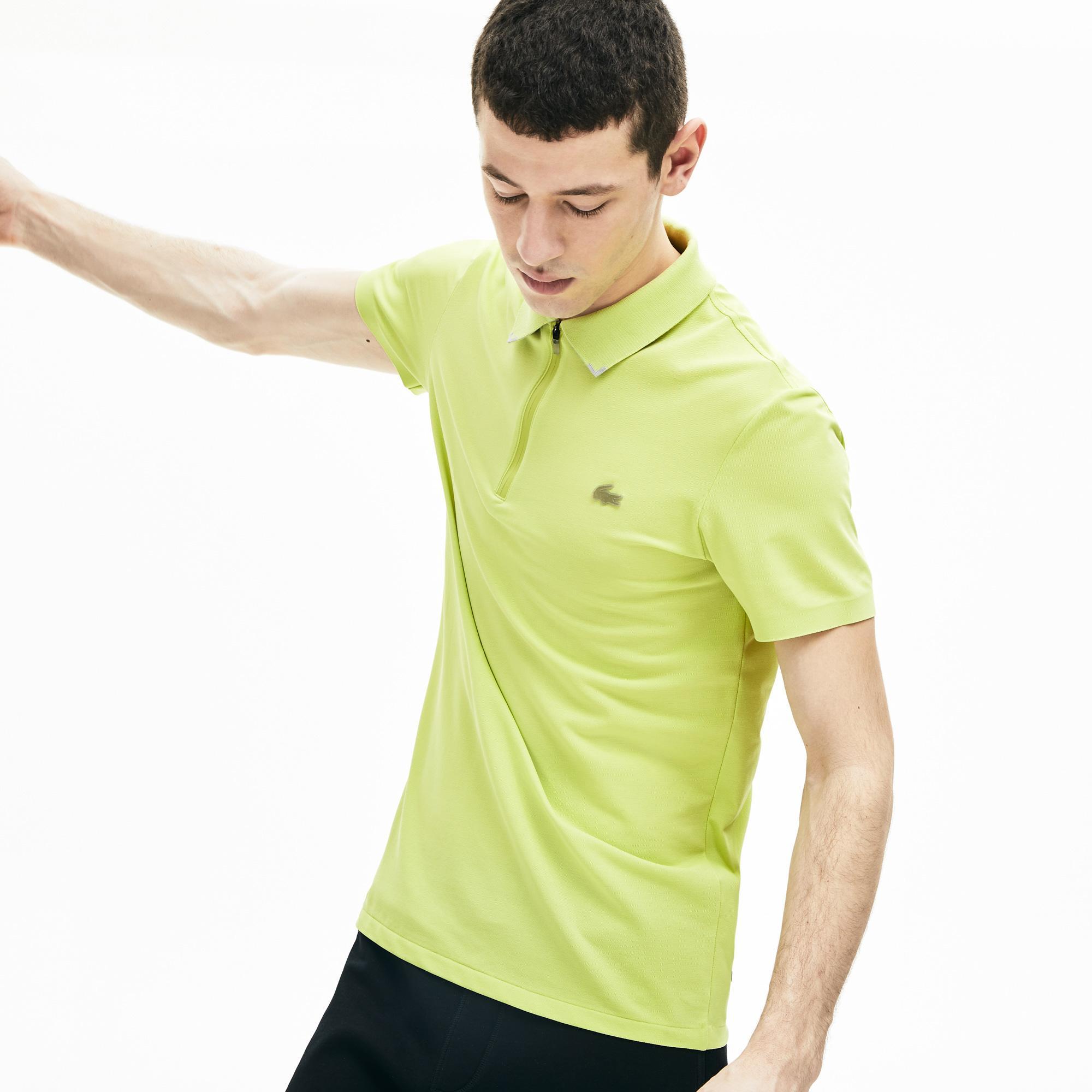 Lacoste Motion Erkek Sarı Slim Fit Fermuarlı Yaka Polo