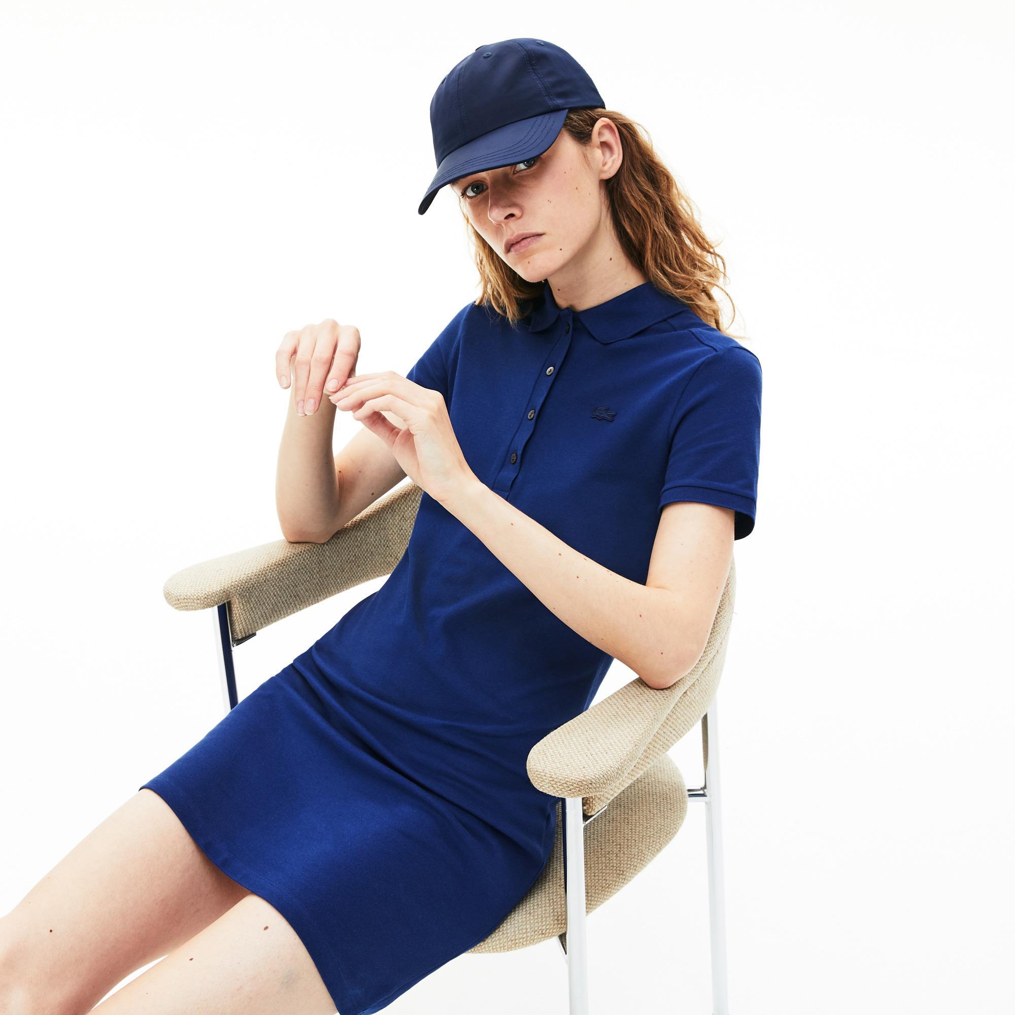 Lacoste Kadın Saks Mavi Polo Yaka Elbise