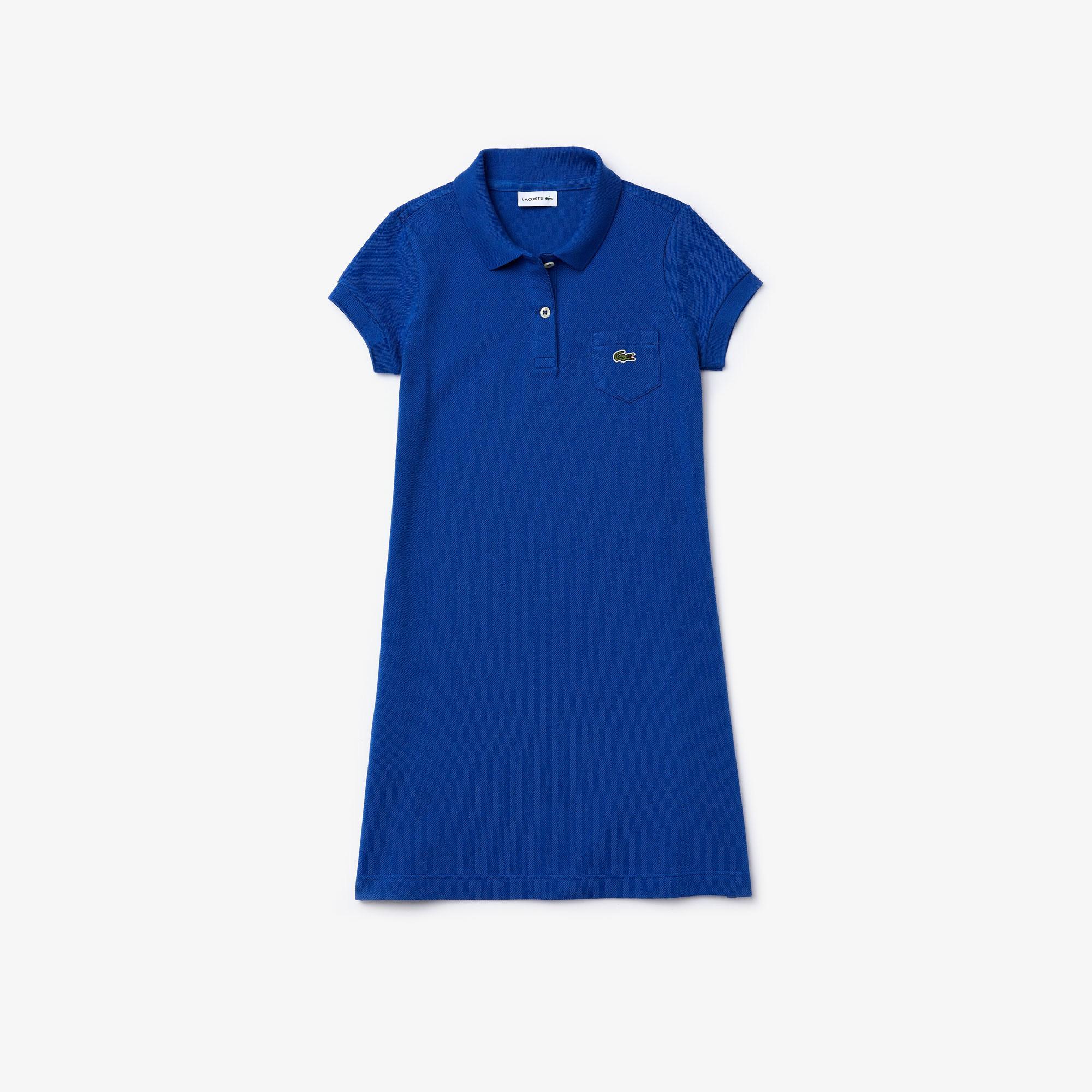 Lacoste Çocuk Saks Mavi Polo Yaka Elbise