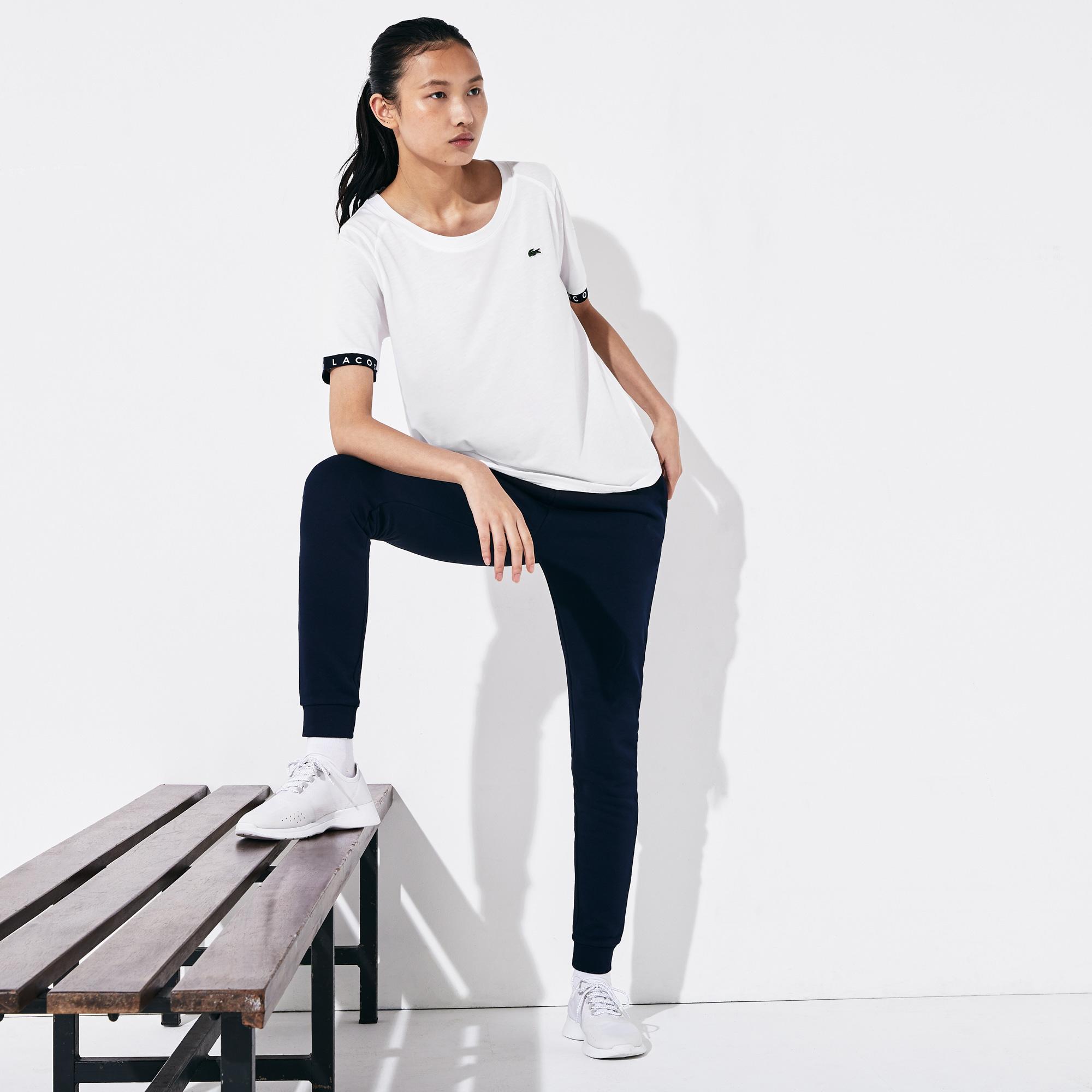 Lacoste Sport Kadın Kayık Yaka Baskılı Beyaz T-Shirt