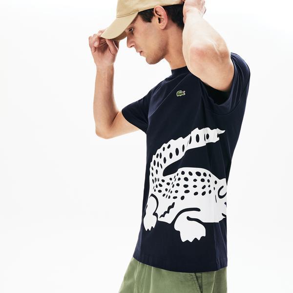 Lacoste Erkek Bisiklet Yaka Timsah Baskılı Lacivert T-Shirt