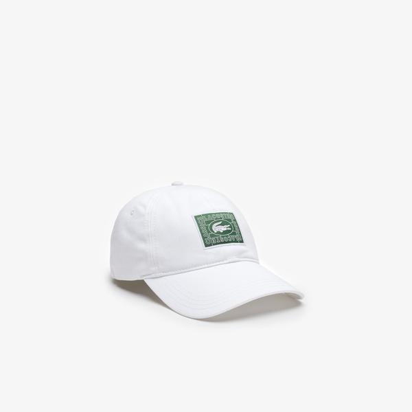Lacoste Unisex Timsah Baskılı Beyaz Şapka