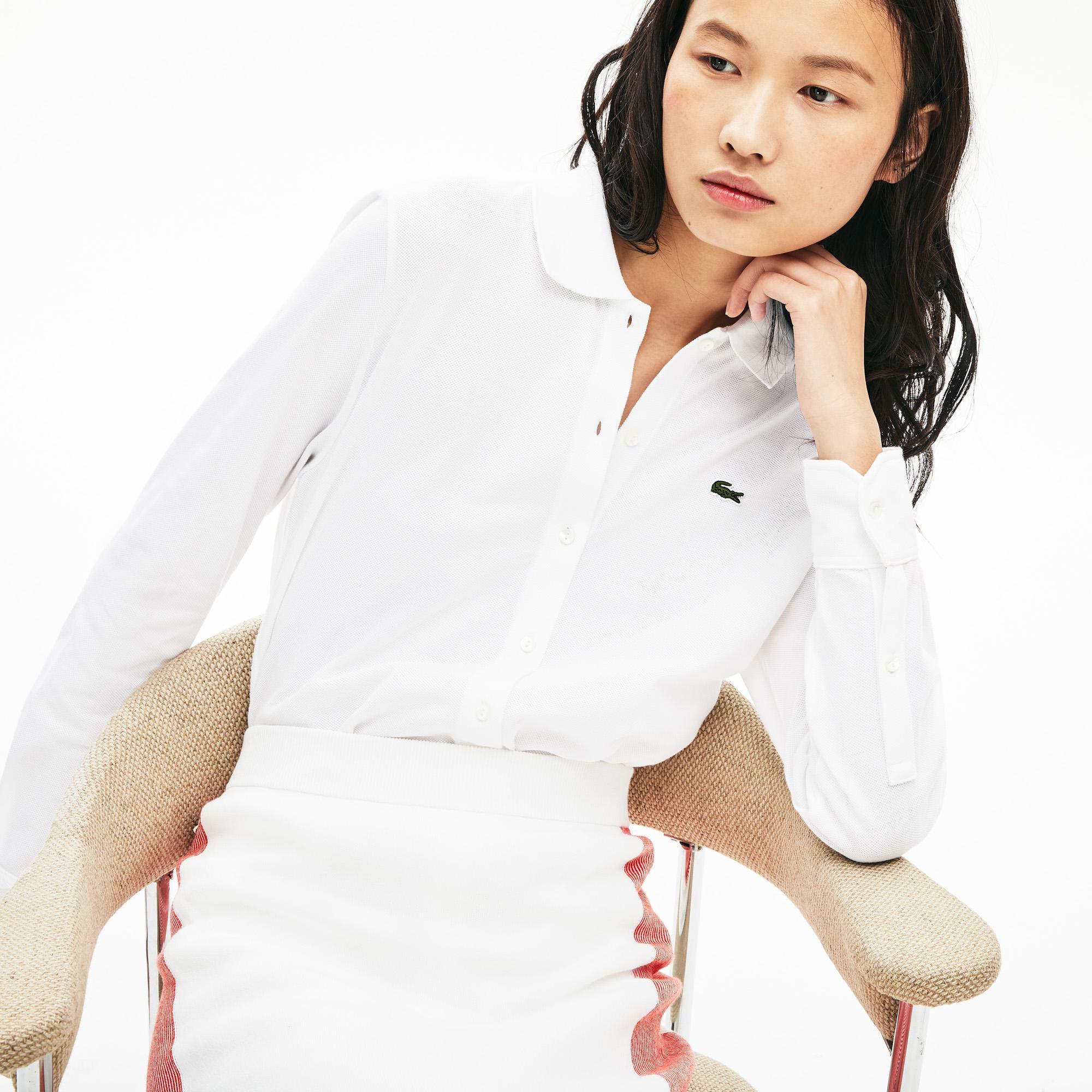 Lacoste Kadın Uzun Kollu Beyaz Polo
