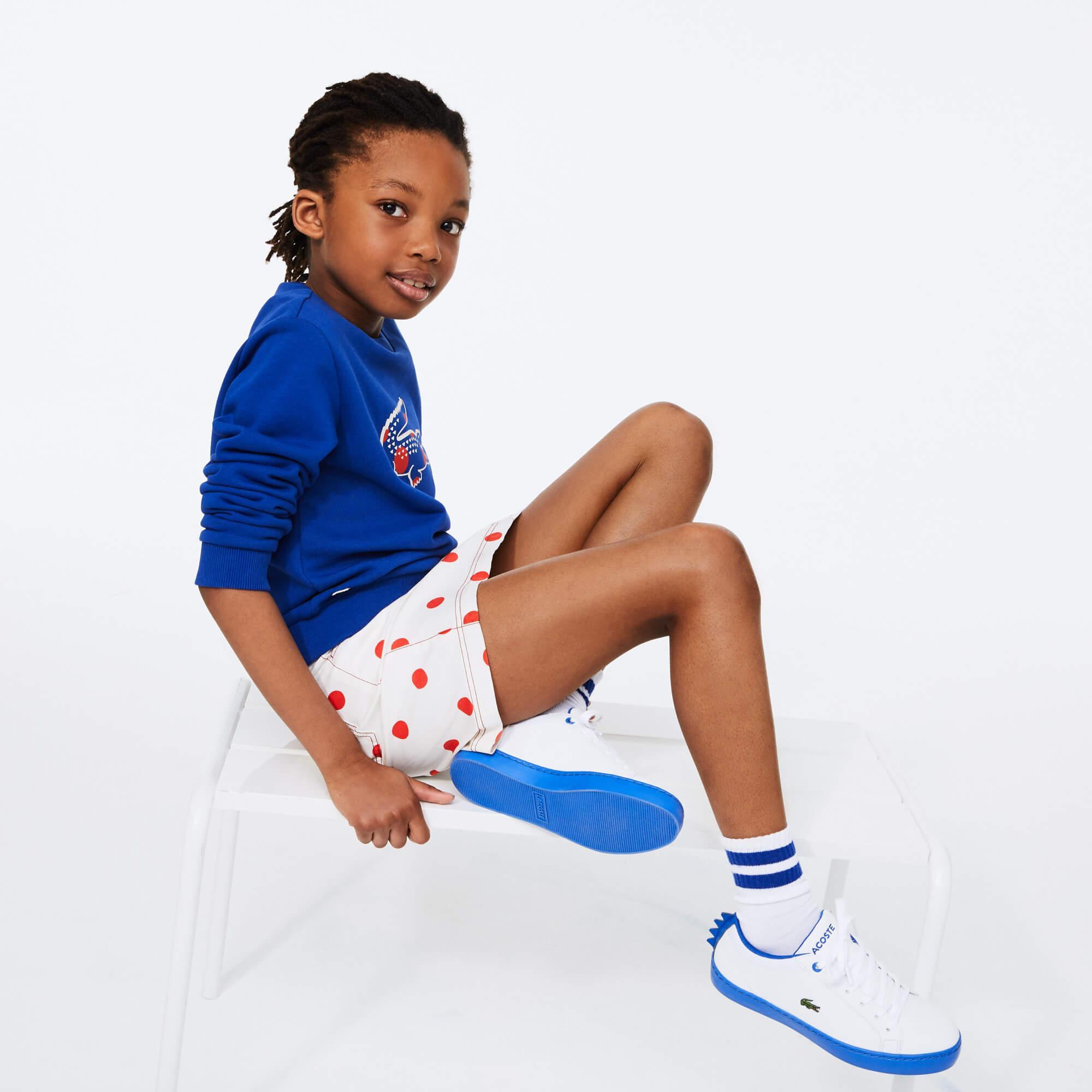 Lacoste Çocuk Bisiklet Yaka Timsah Baskılı Saks Mavi Sweatshirt