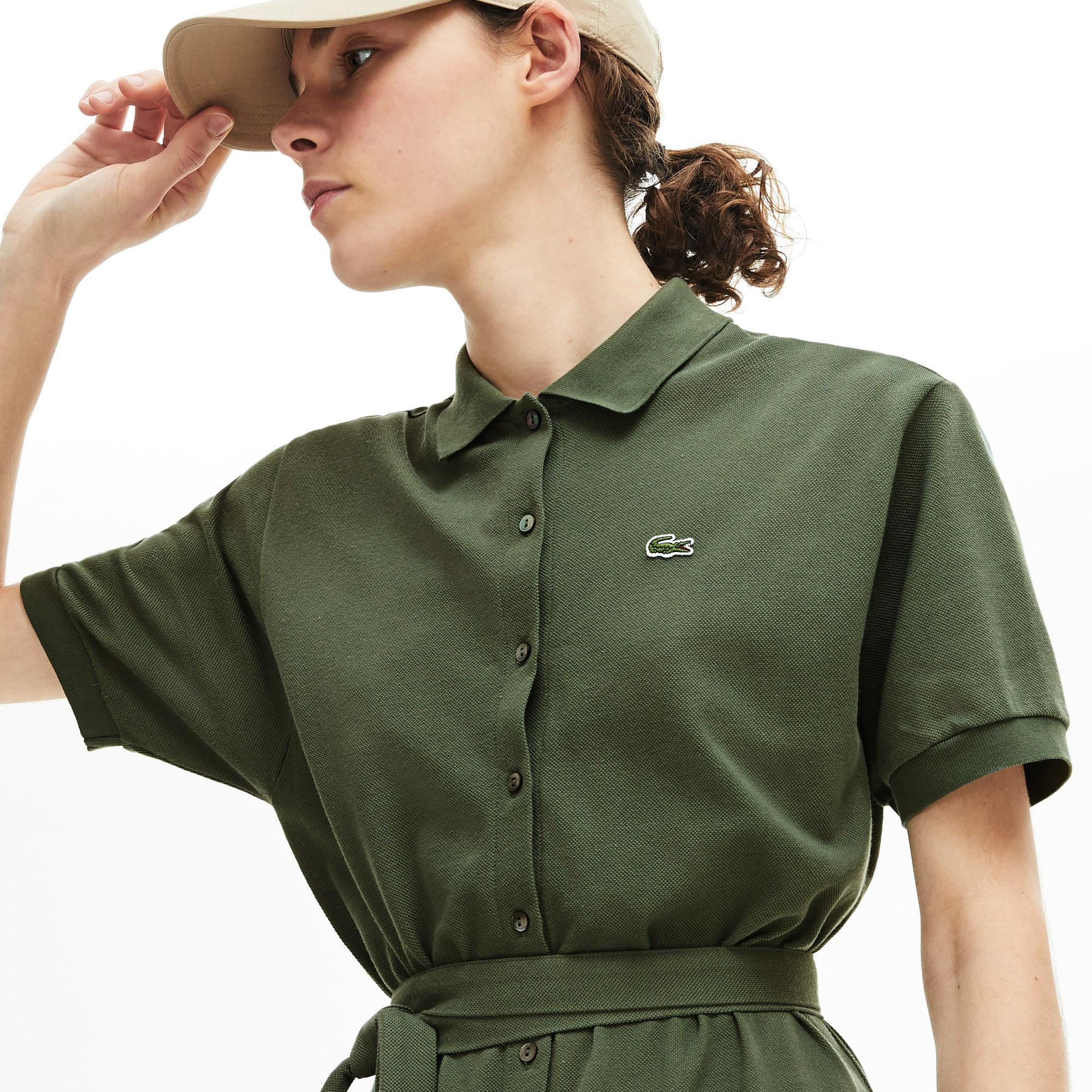 Lacoste Kadın Haki Polo Yaka Kısa Kollu Elbise
