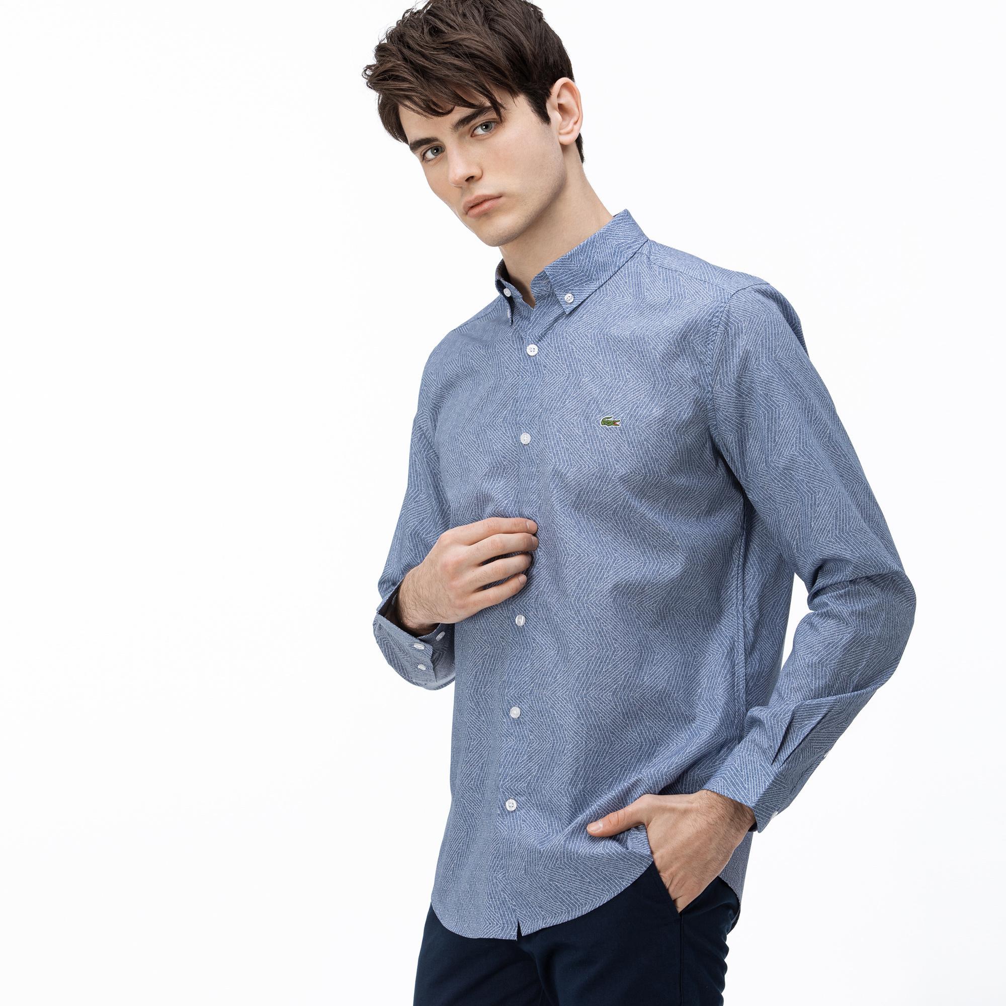 Lacoste Erkek Slim Fit Düğmeli Yaka Baskılı Lacivert Gömlek