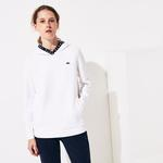 Lacoste Sport Kadın Kapüşonlu Beyaz Sweatshirt
