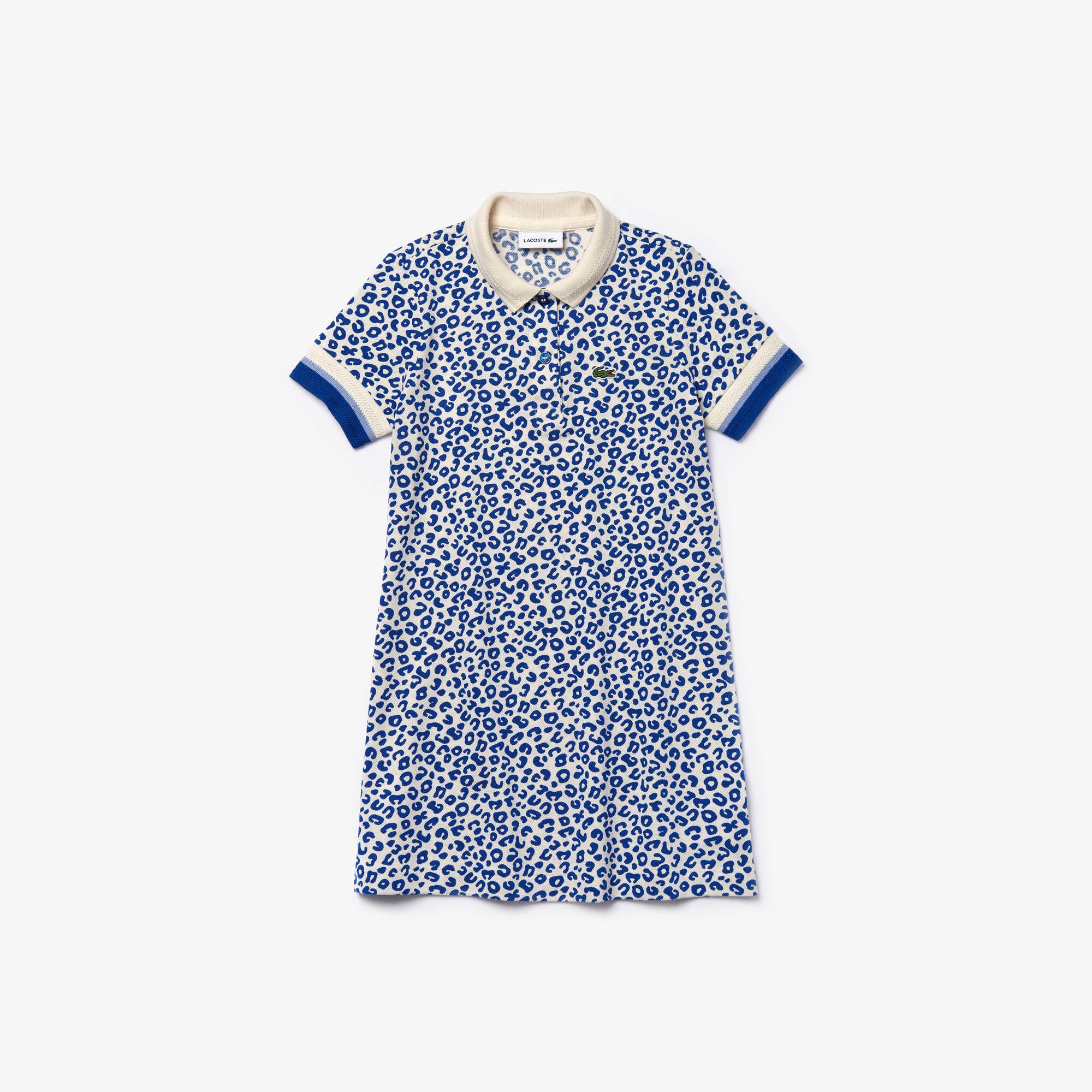 Lacoste Çocuk Polo Yaka Baskılı Kısa Kollu Saks Mavi Elbise