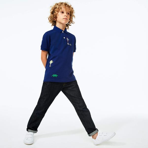 Lacoste X Jeremyville Çocuk Baskılı Saks Mavi Polo