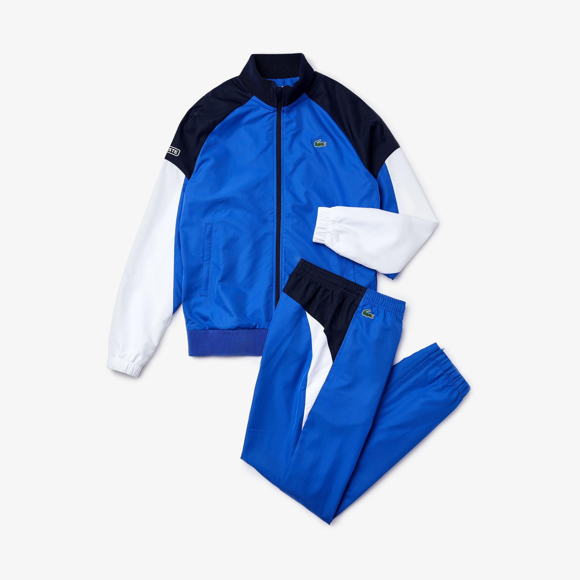 Lacoste Sport Erkek Blok Desenli Mavi Eşofman Takımı