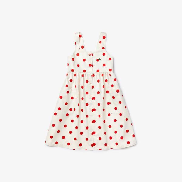 Lacoste Çocuk Kayık Yaka Baskılı Kolsuz Renkli Elbise