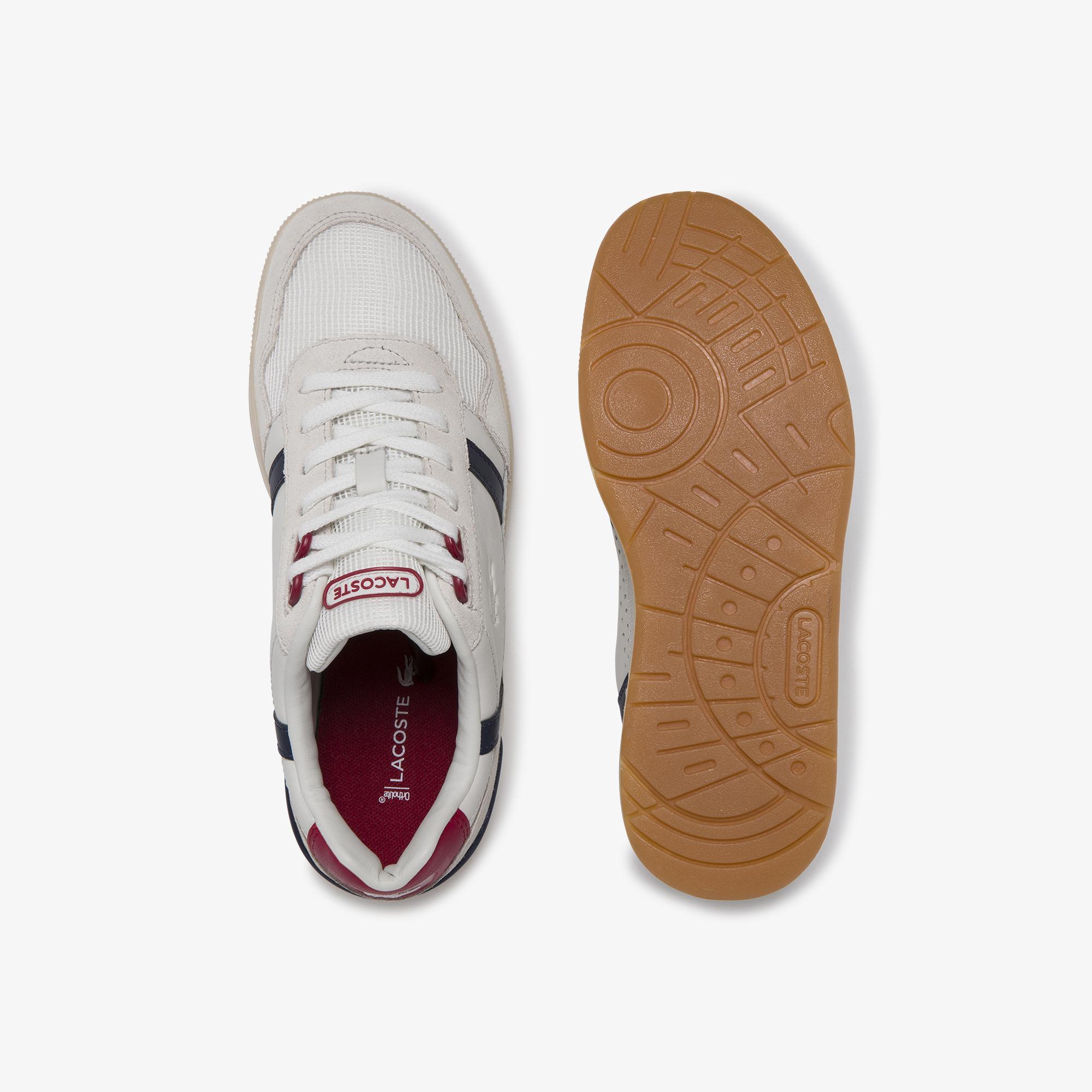 Lacoste T-Clip 120 2 Us Sfa Kadın Beyaz - Lacivert - Kırmızı Deri Sneaker
