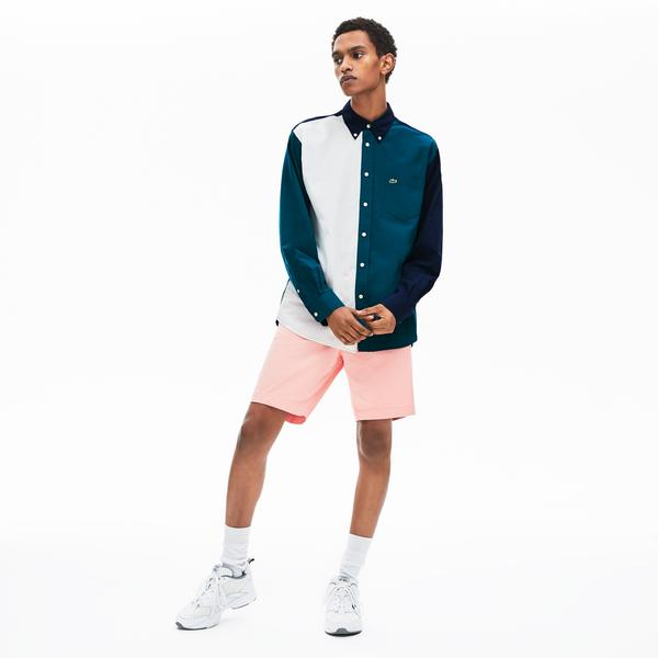 Lacoste Erkek Regular Fit Düğmeli Yaka Blok Desenli Renkli Gömlek
