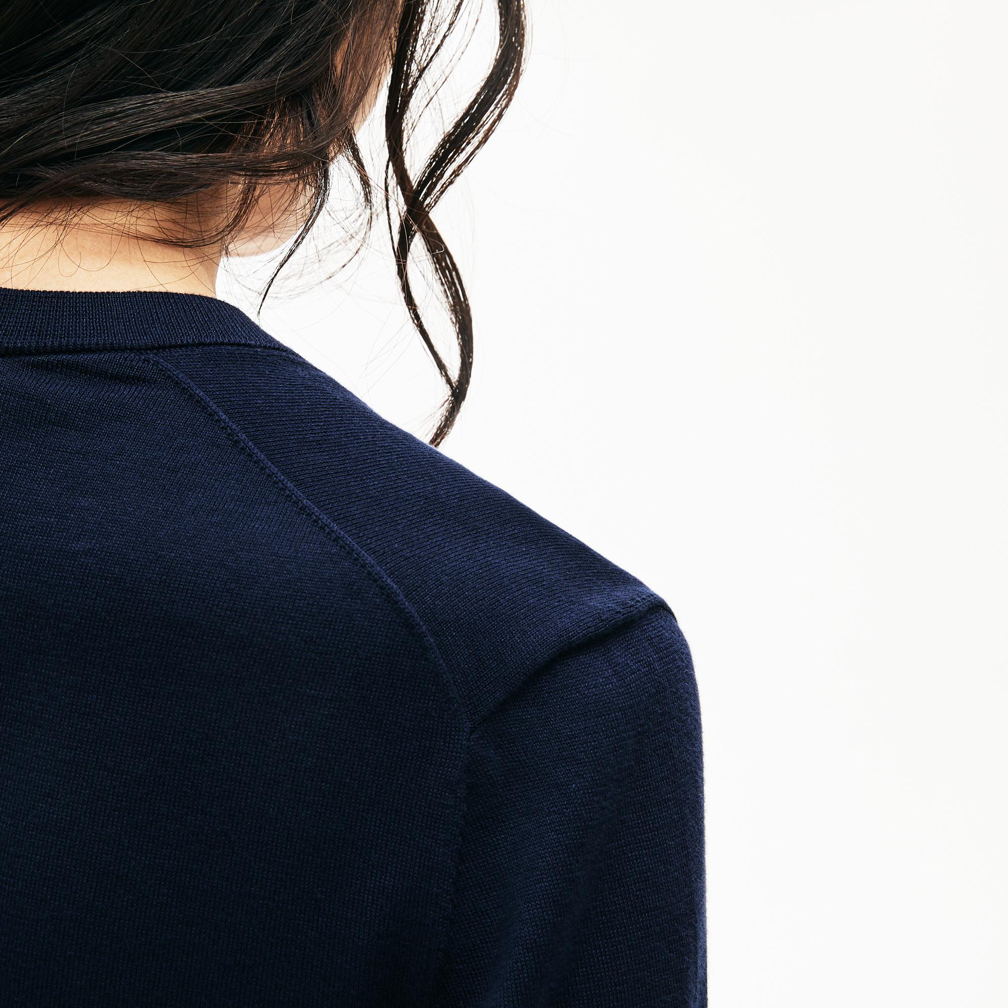 Lacoste Motion Kadın V Yaka Lacivert Triko Kazak