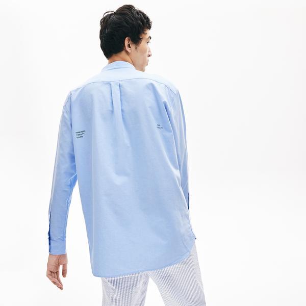 Lacoste L!VE Erkek Regular Fit Düğmeli Yaka Açık Mavi Gömlek