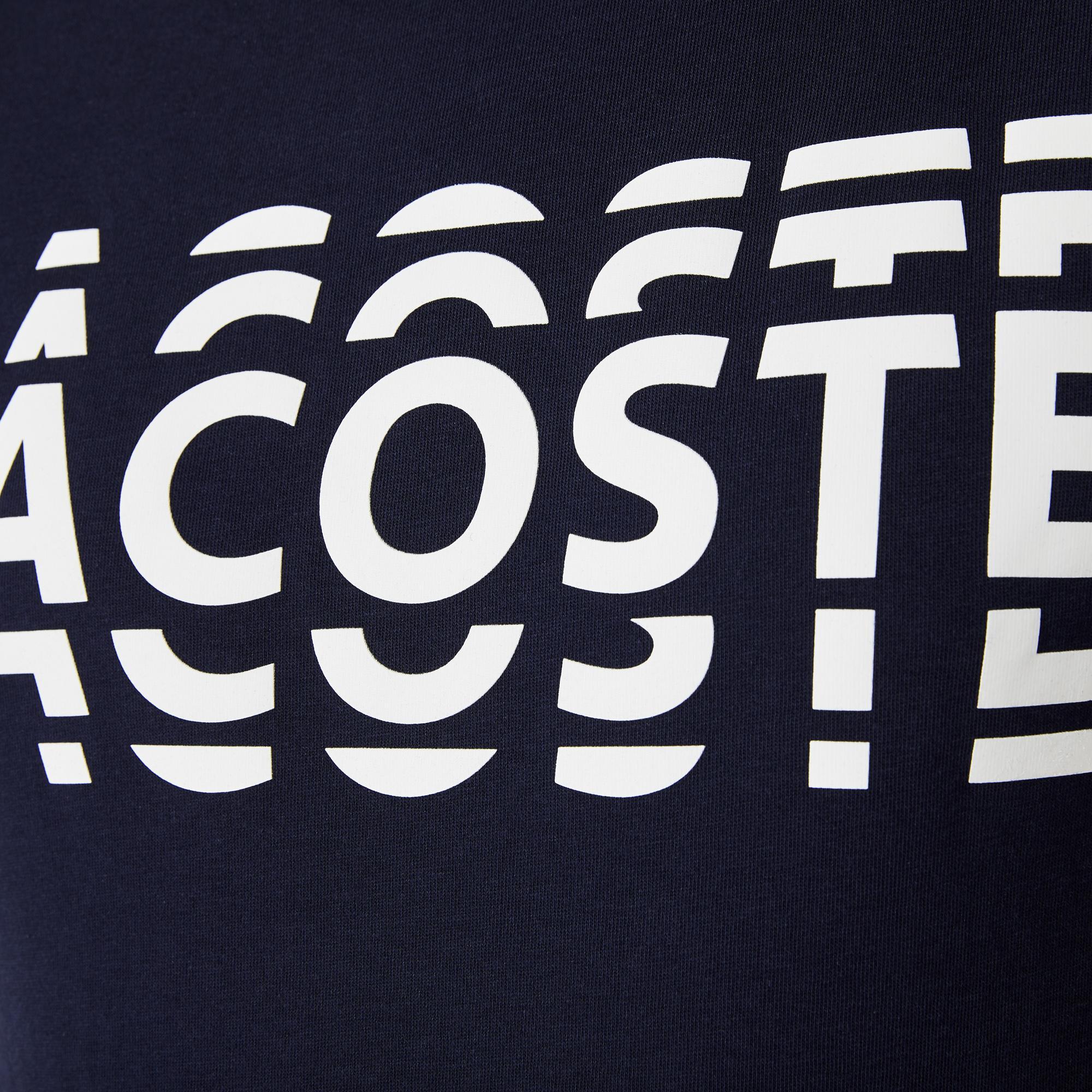 Lacoste Sport Erkek Bisiklet Yaka Baskılı Lacivert T-Shirt