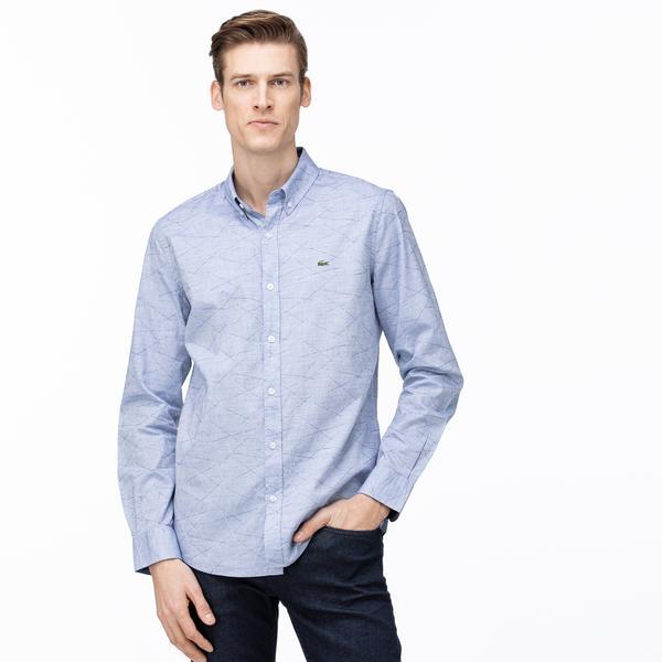 Lacoste Erkek Slim Fit Düğmeli Yaka Mavi Gömlek