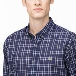 Lacoste Erkek Slim Fit Düğmeli Yaka Ekose Desenli Lacivert Gömlek