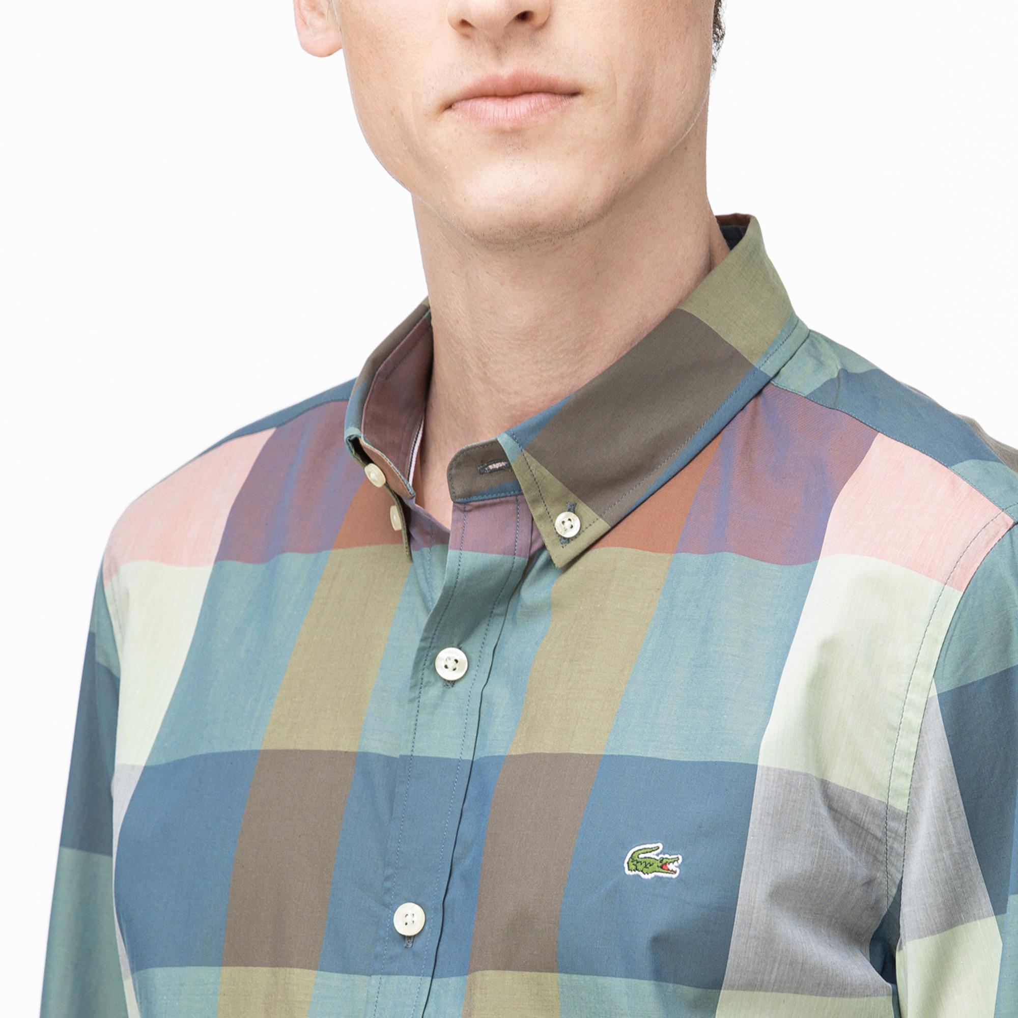 Lacoste Erkek Slim Fit Düğmeli Yaka Ekose Desenli Renkli Gömlek