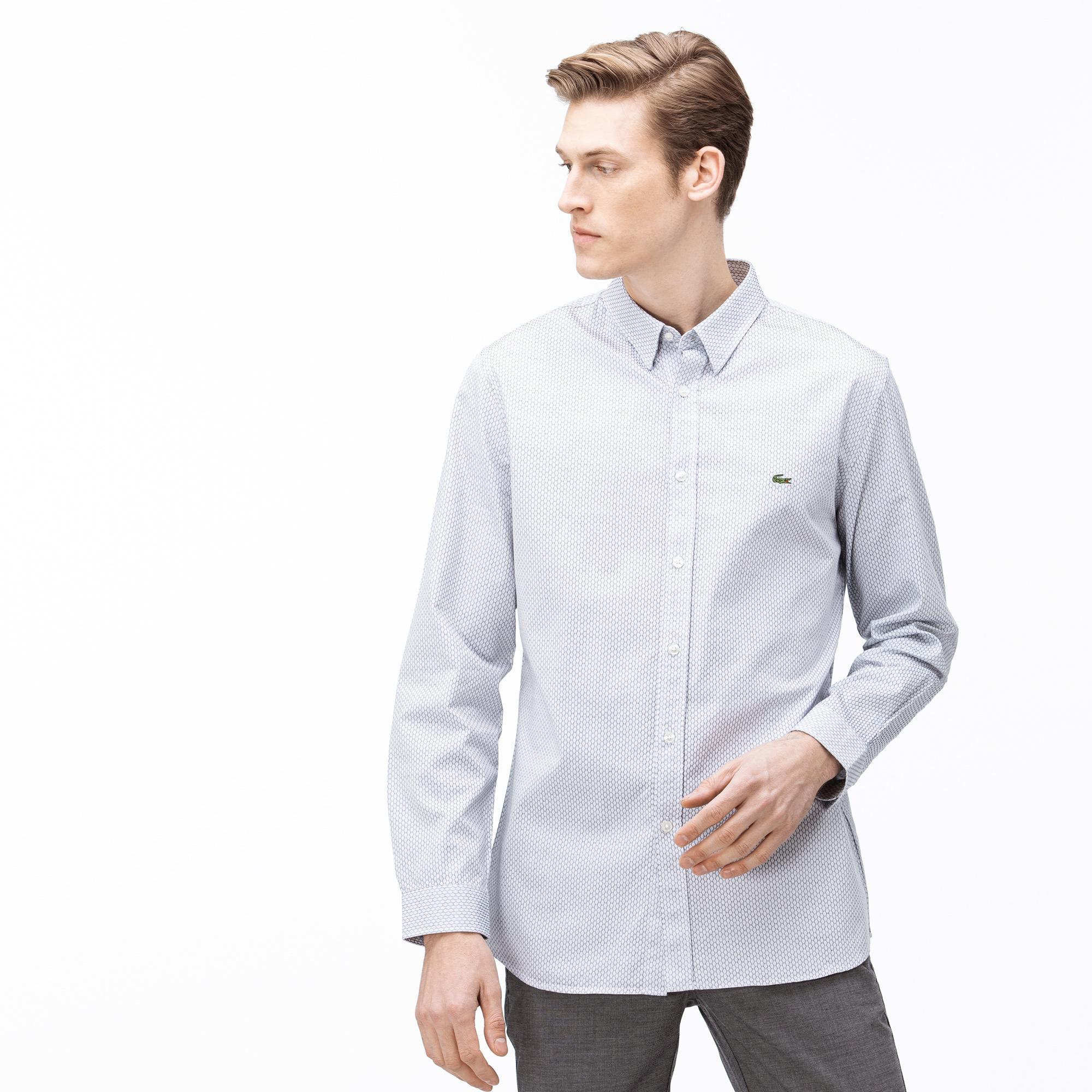 Lacoste Erkek Slim Fit Düğmeli Yaka Açık Mavi Gömlek