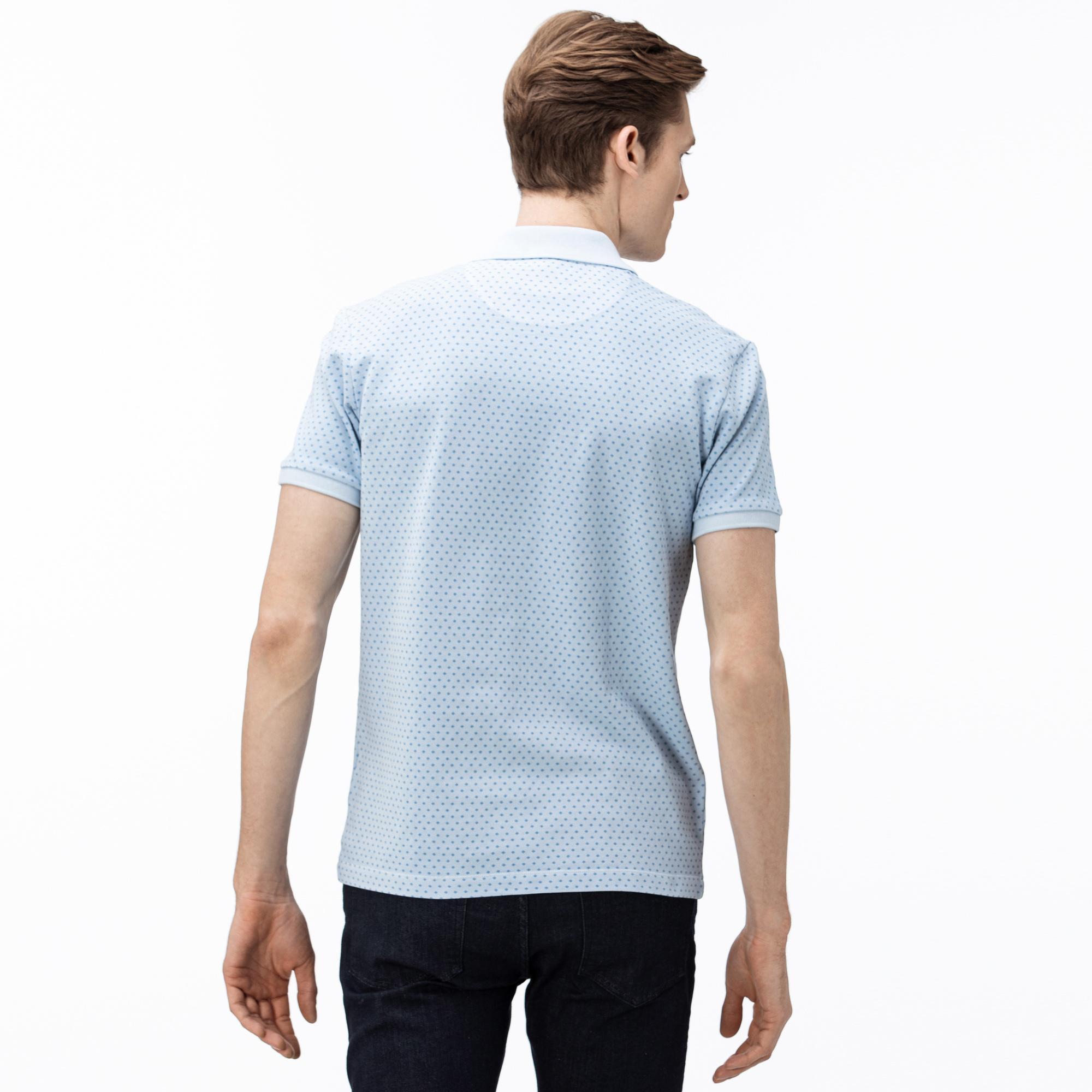 Lacoste Erkek Slim Fit Desenli Açık Mavi Polo