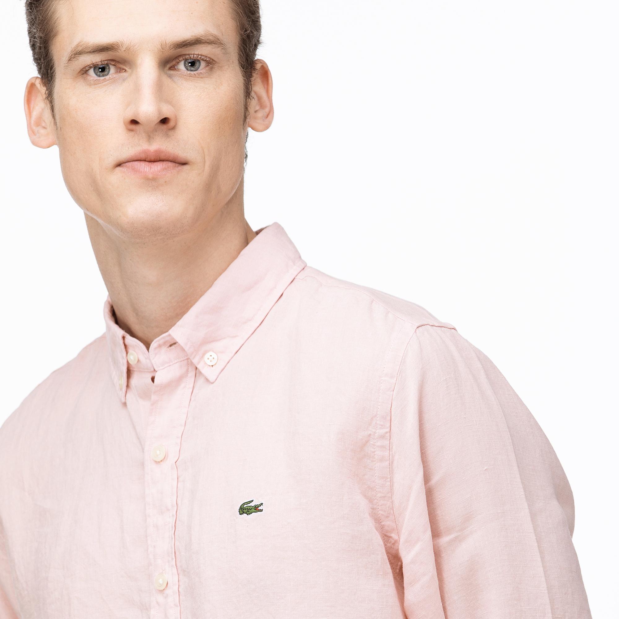 Lacoste Erkek Regular Fit Düğmeli Yaka Açık Pembe Keten Gömlek