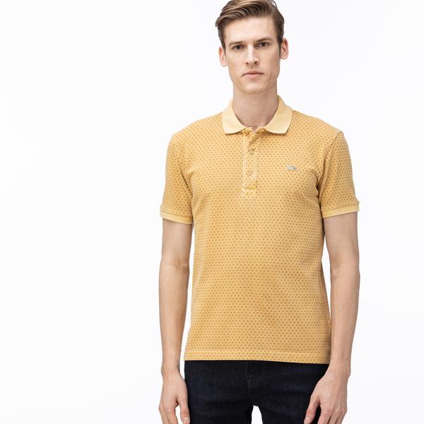 Lacoste Erkek Slim Fit Desenli Açık Sarı Polo