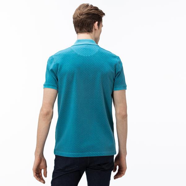 Lacoste Erkek Slim Fit Desenli Mavi Polo