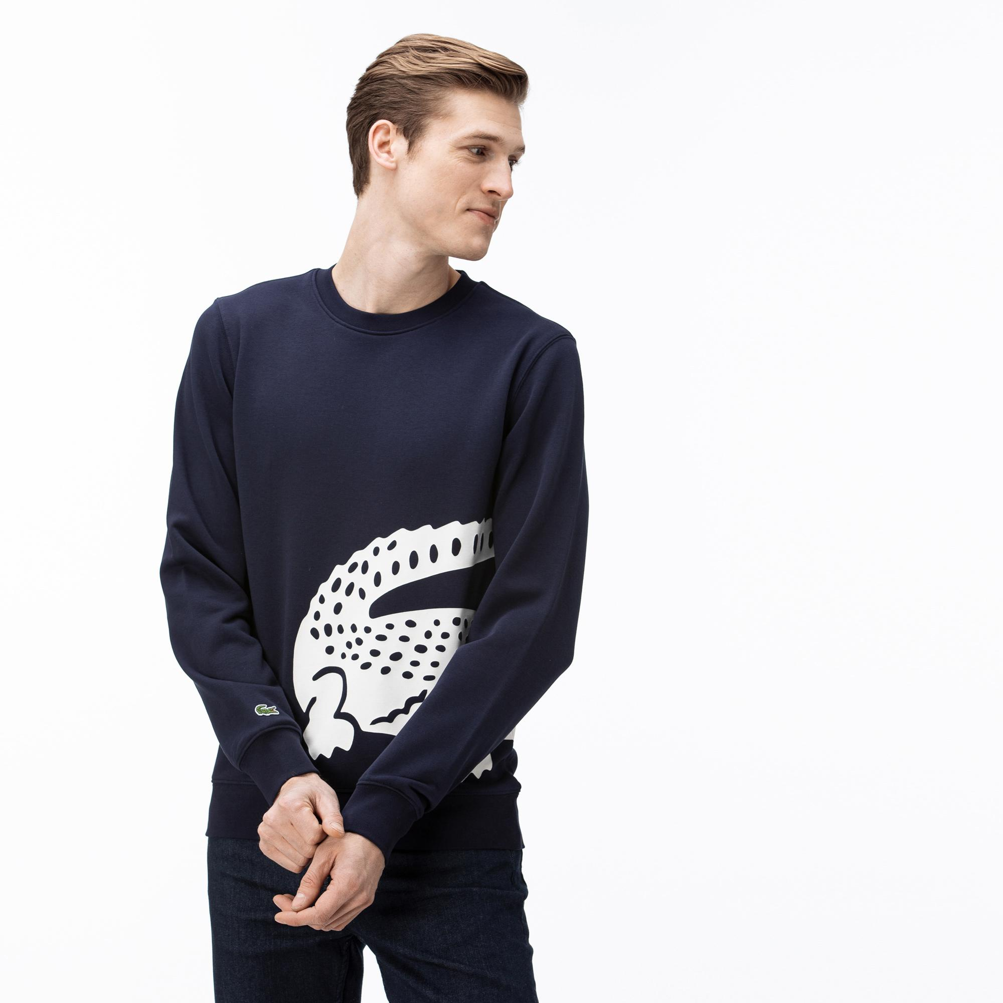 Lacoste Erkek Bisiklet Yaka Timsah Baskılı Lacivert Sweatshirt
