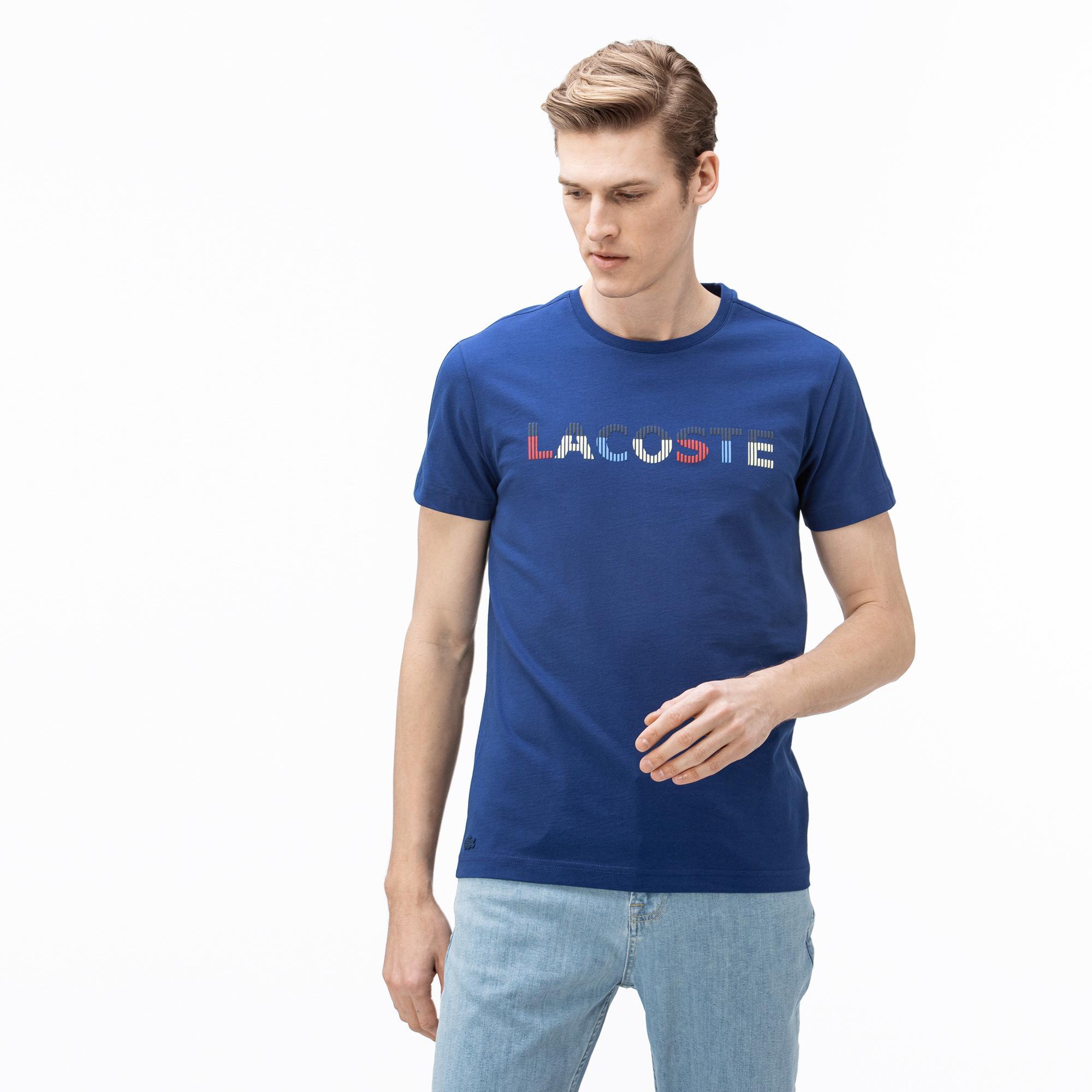 Lacoste Erkek Bisiklet Yaka Baskılı Saks Mavi T-Shirt
