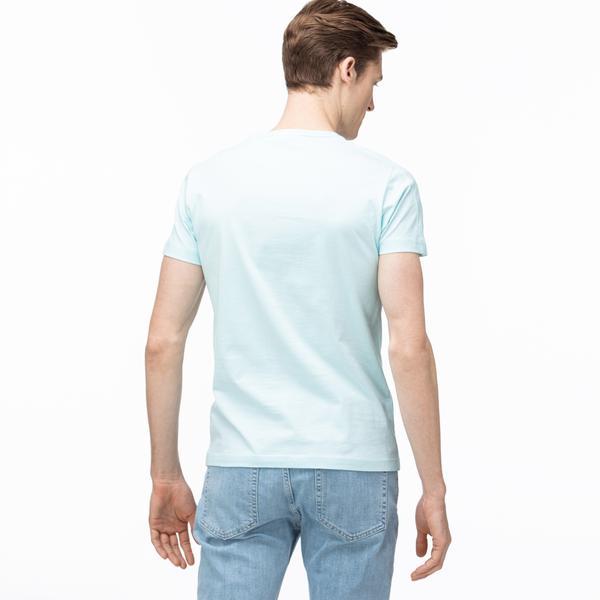 Lacoste Erkek Bisiklet Yaka Baskılı Açık Mavi T-Shirt