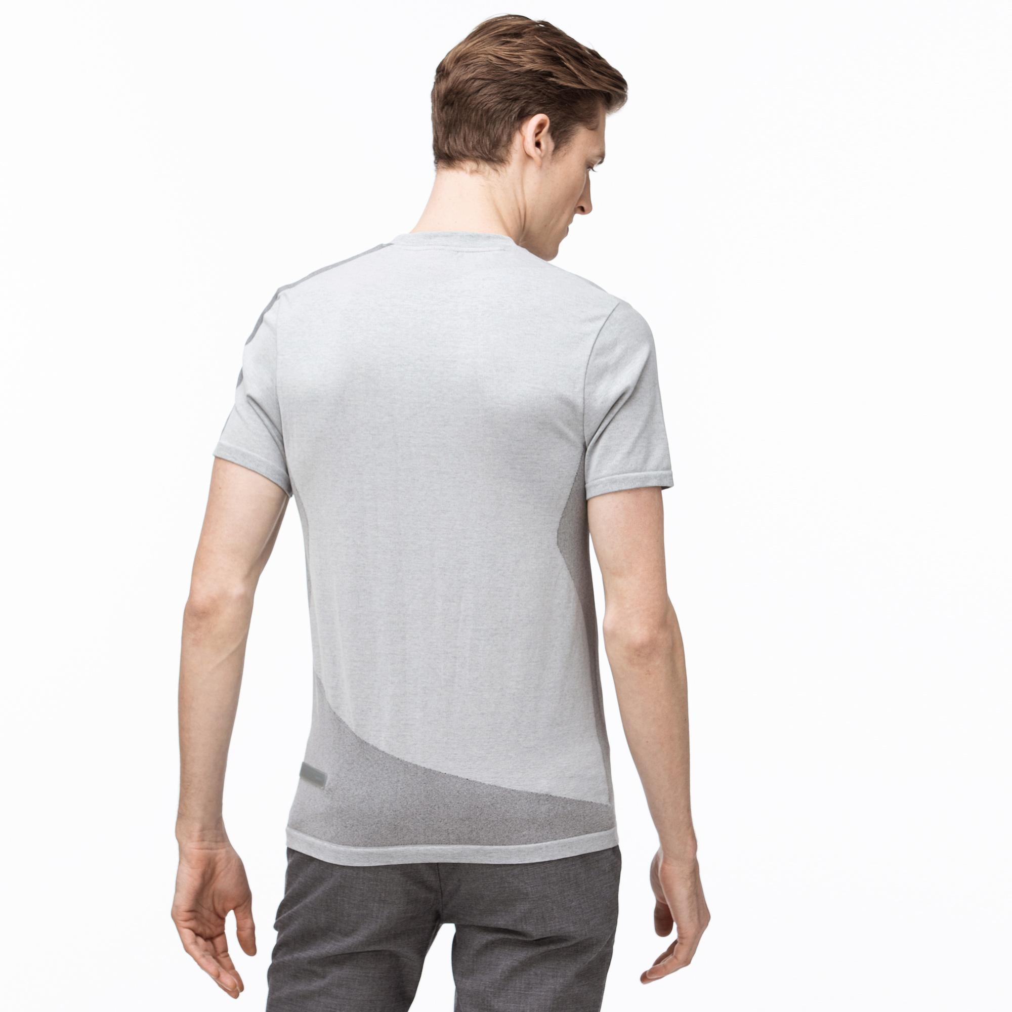 Lacoste Erkek Bisiklet Yaka Blok Desenli Gri T-Shirt