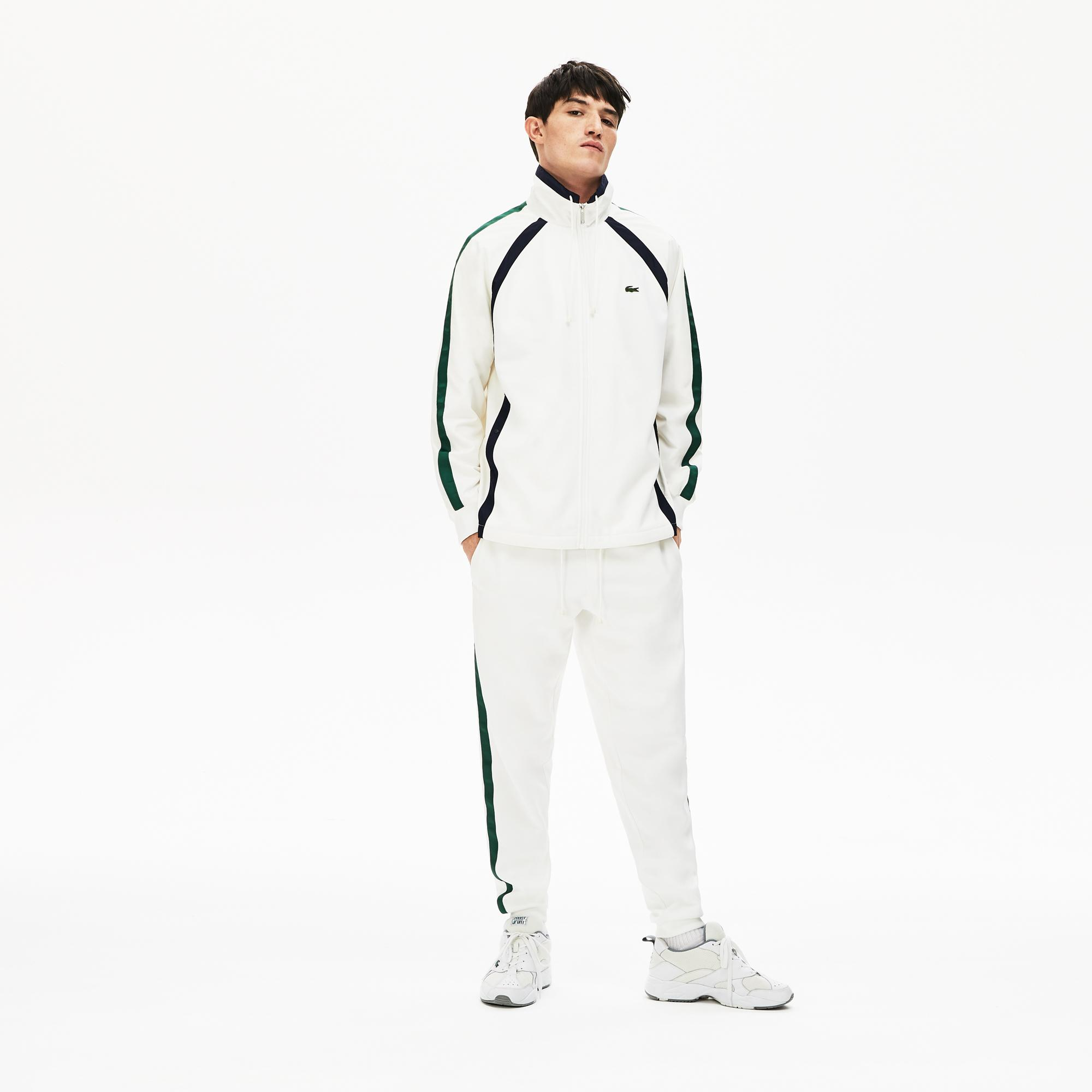 Lacoste Erkek Fermuarlı Beyaz Çizgili Sweatshirt