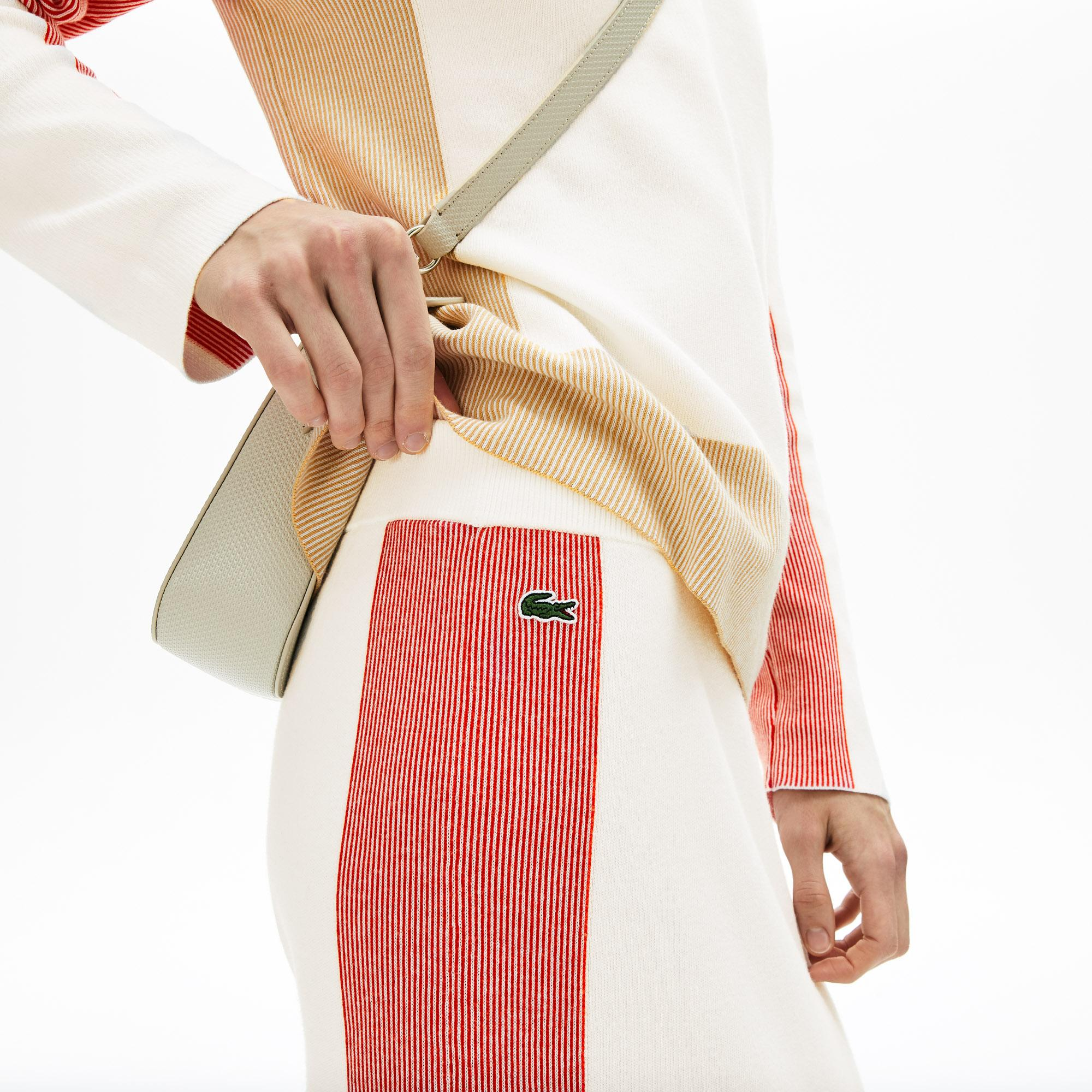 Lacoste Kadın Blok Desenli Beyaz - Pembe Etek