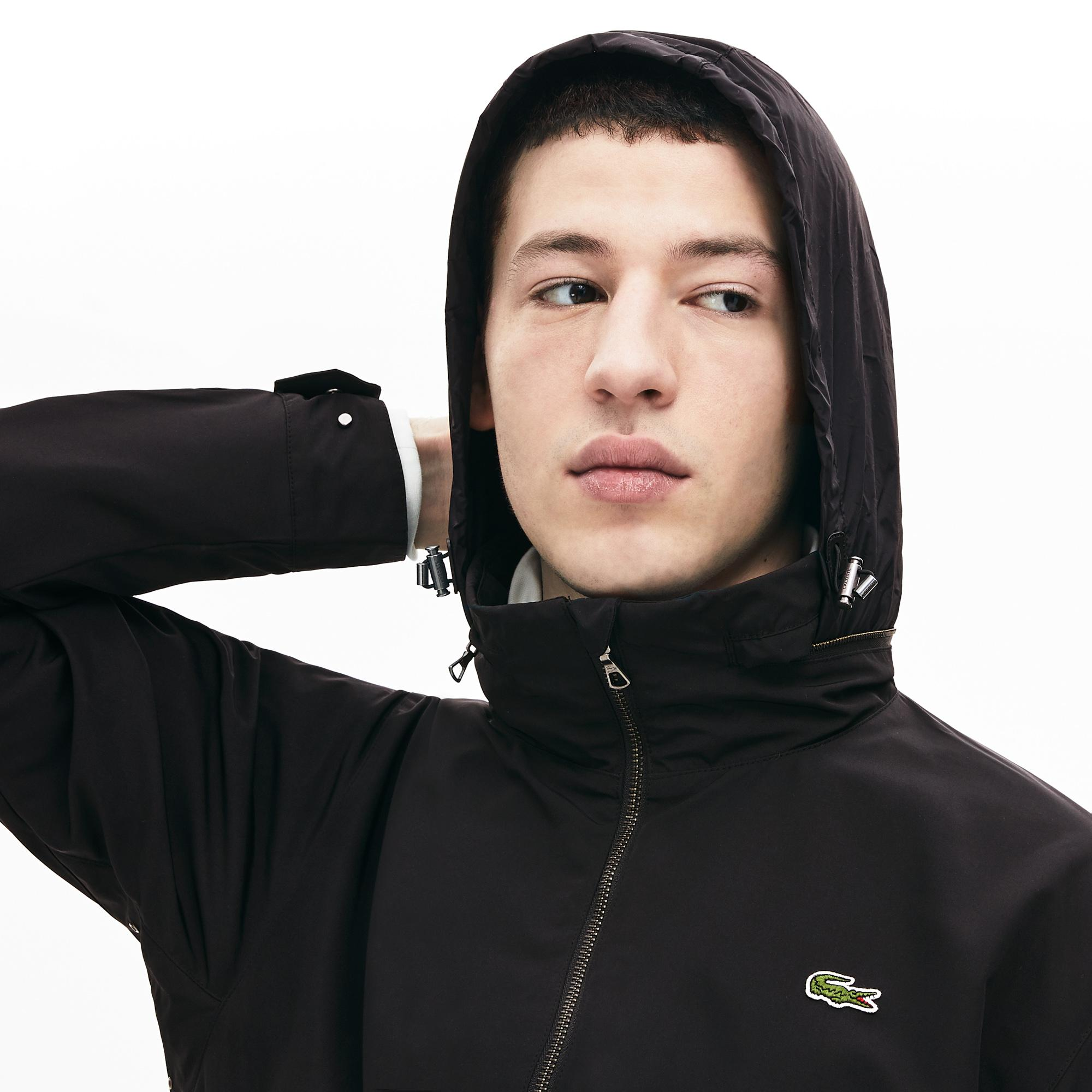 Lacoste Erkek Gizlenebilir Kapüşonlu Siyah Mont