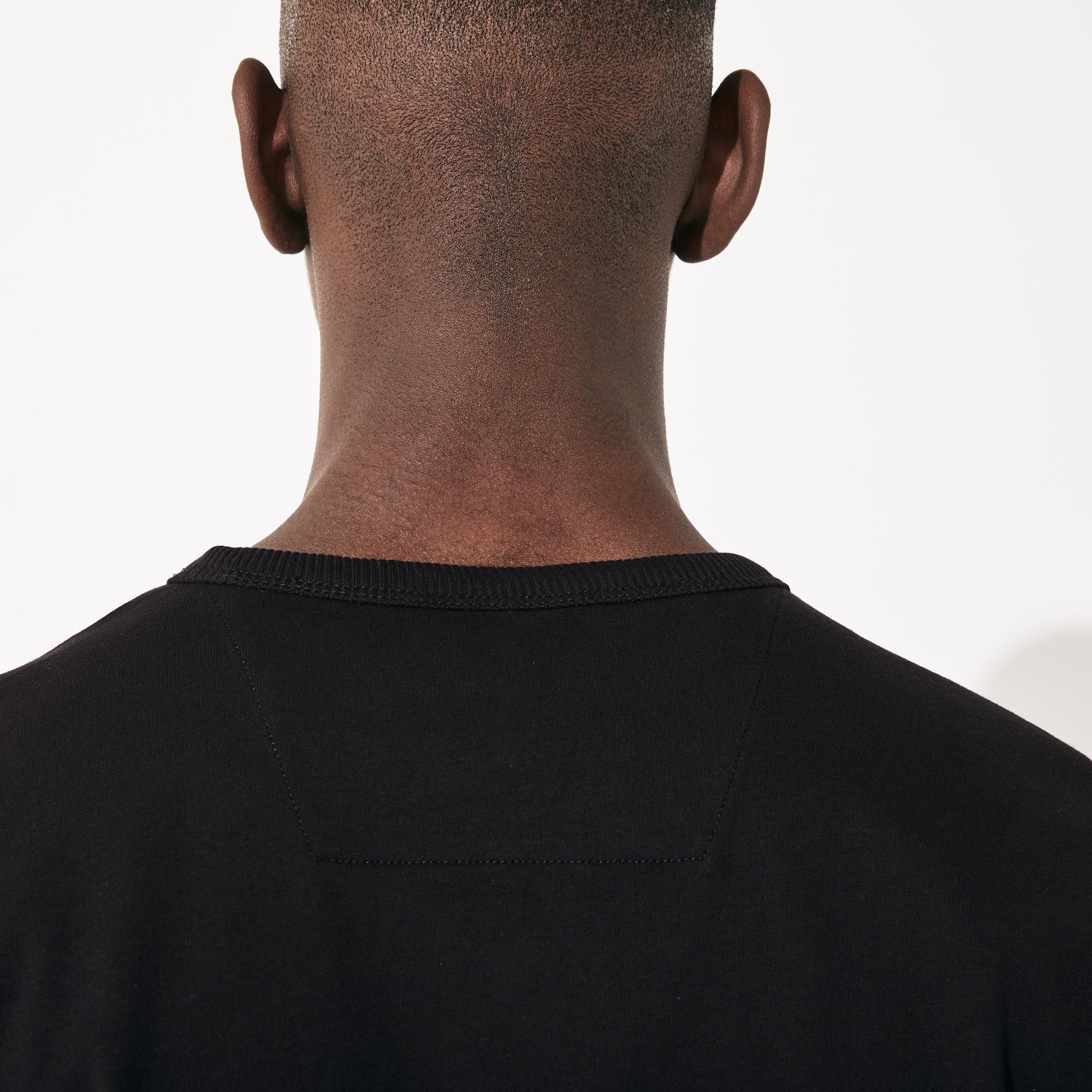 Lacoste Sport Erkek Bisiklet Yaka Timsah Baskılı Siyah T-Shirt
