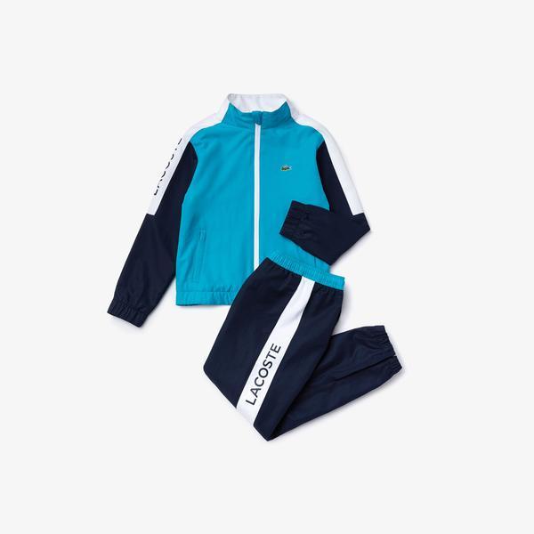 Lacoste Sport Çocuk Fermuarlı Blok Desenli Uzun Kollu Renkli Eşofman Takımı
