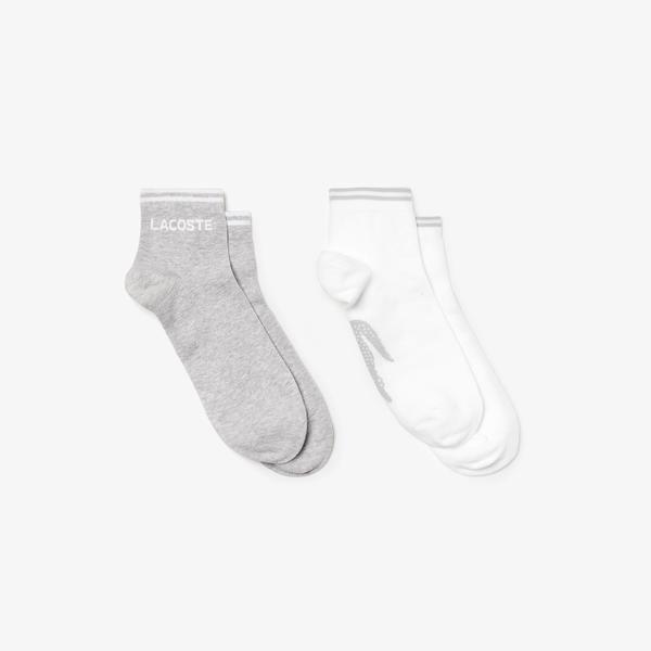 Lacoste Unisex Sport Gri-Beyaz 2'li Çorap
