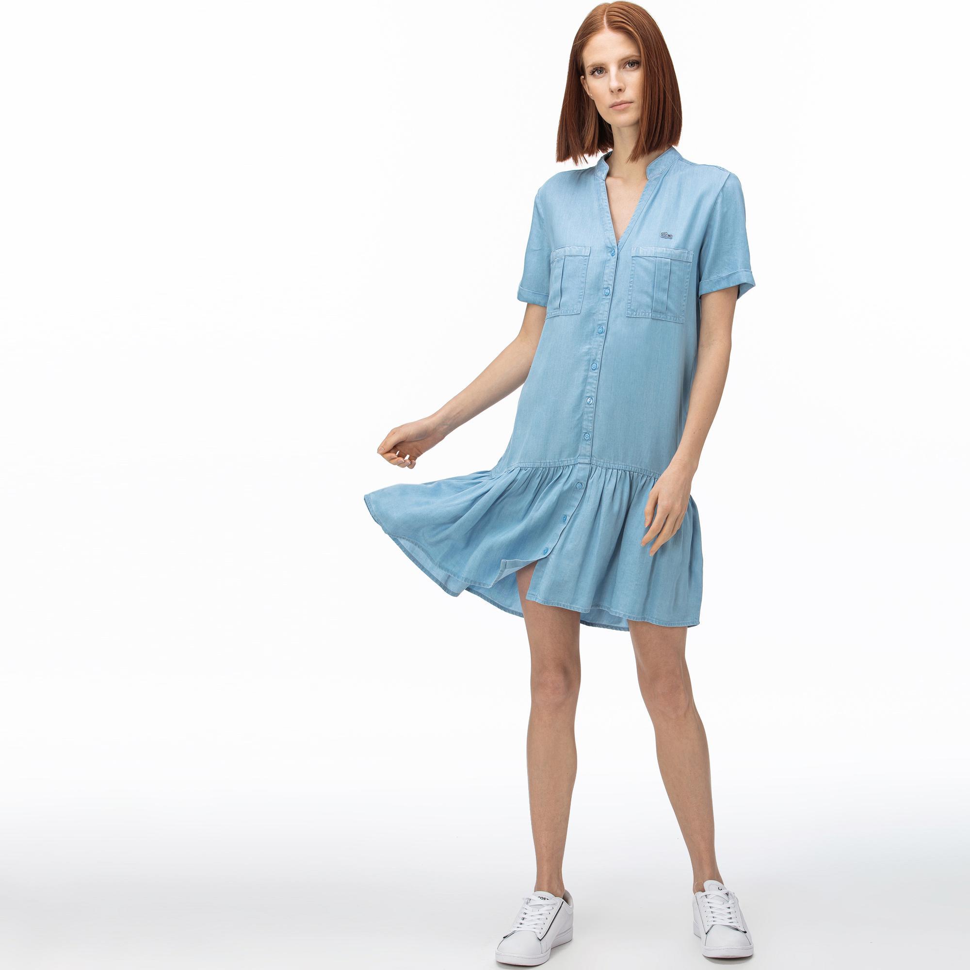 Lacoste Kadın V Yaka Denim Mavi Elbise